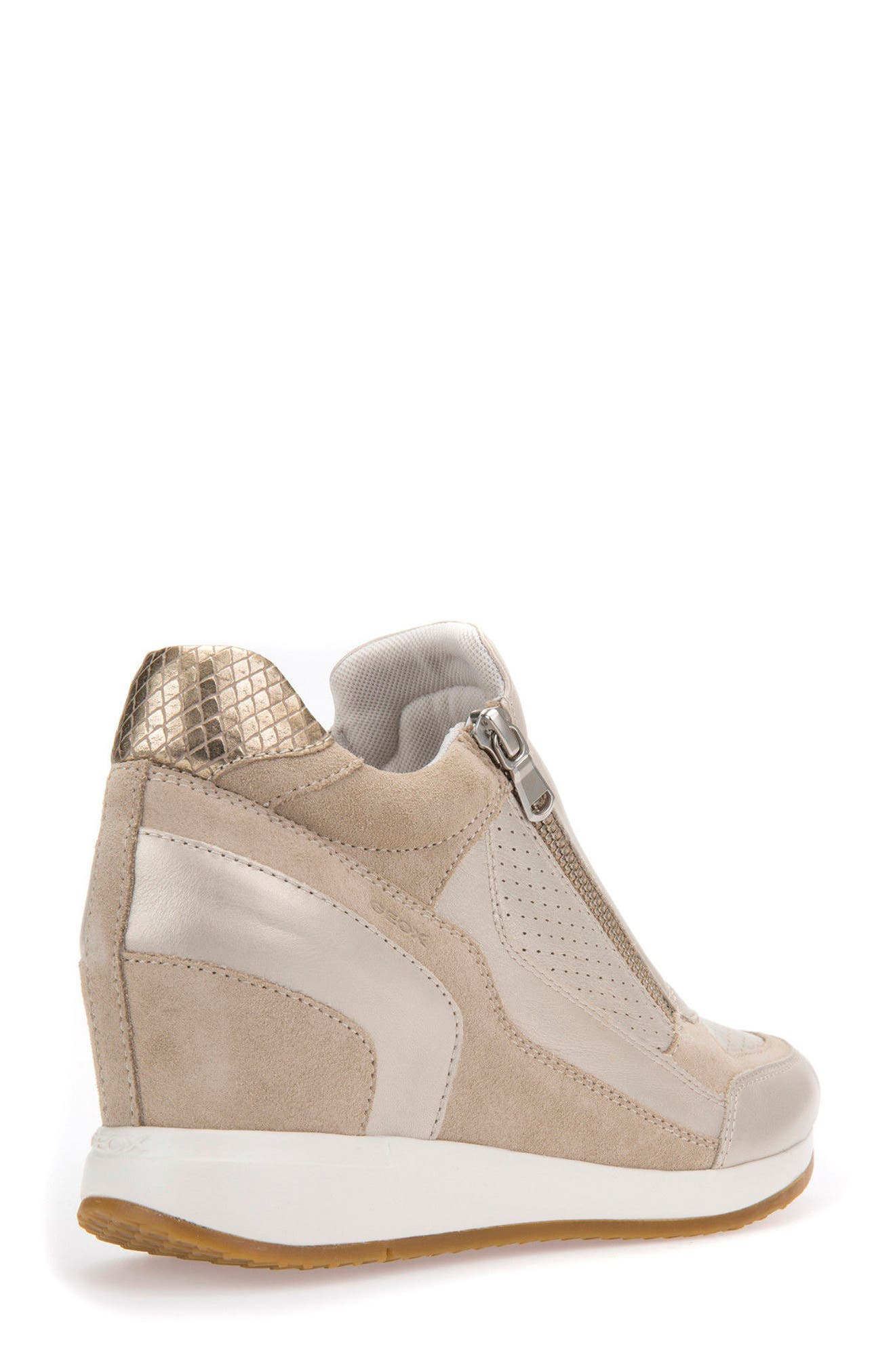 Nydame Wedge Sneaker,                             Alternate thumbnail 2, color,                             PLATINUM LEATHER