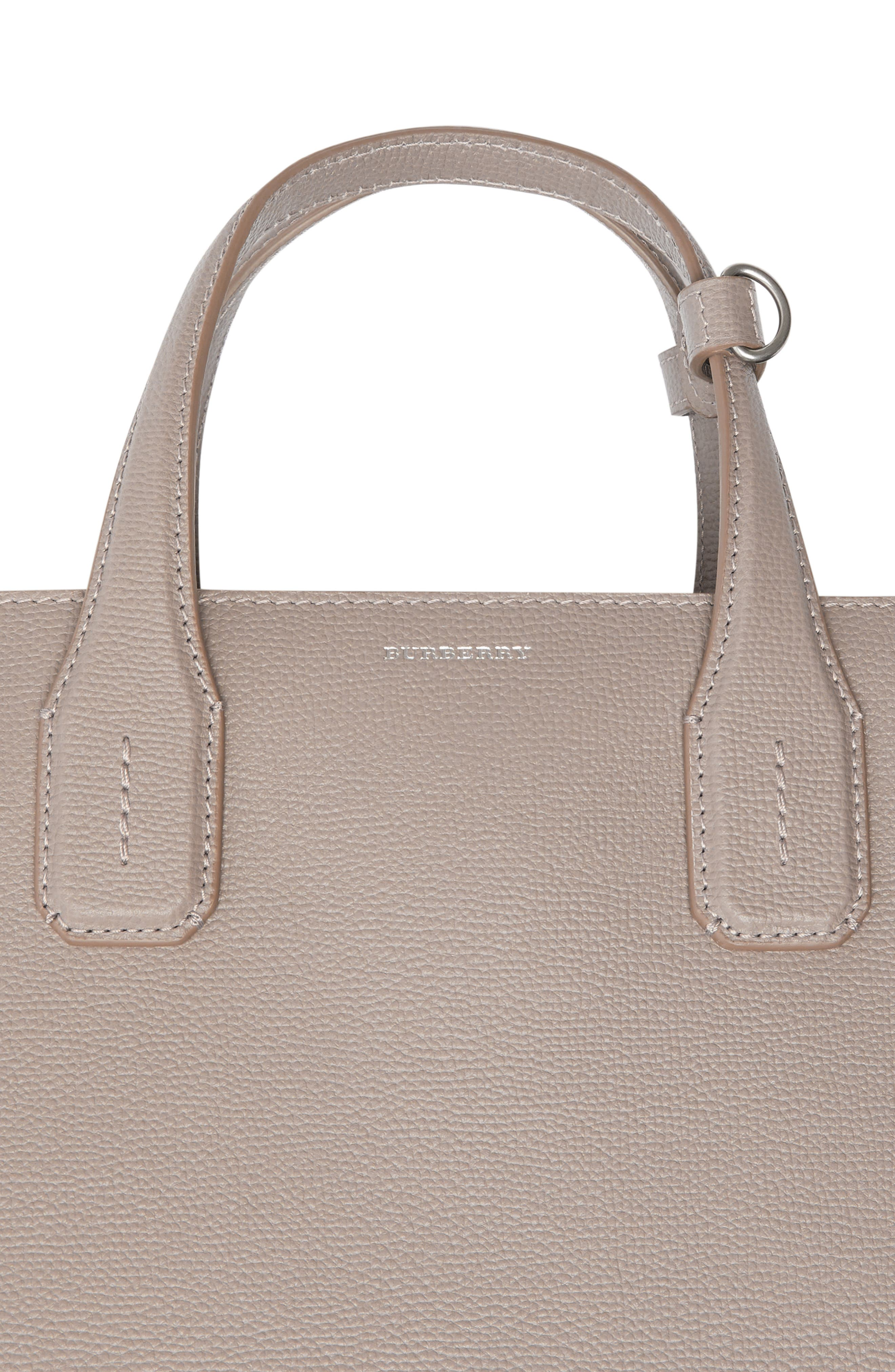 Medium Banner Leather Tote,                             Alternate thumbnail 6, color,                             TAUPE BROWN