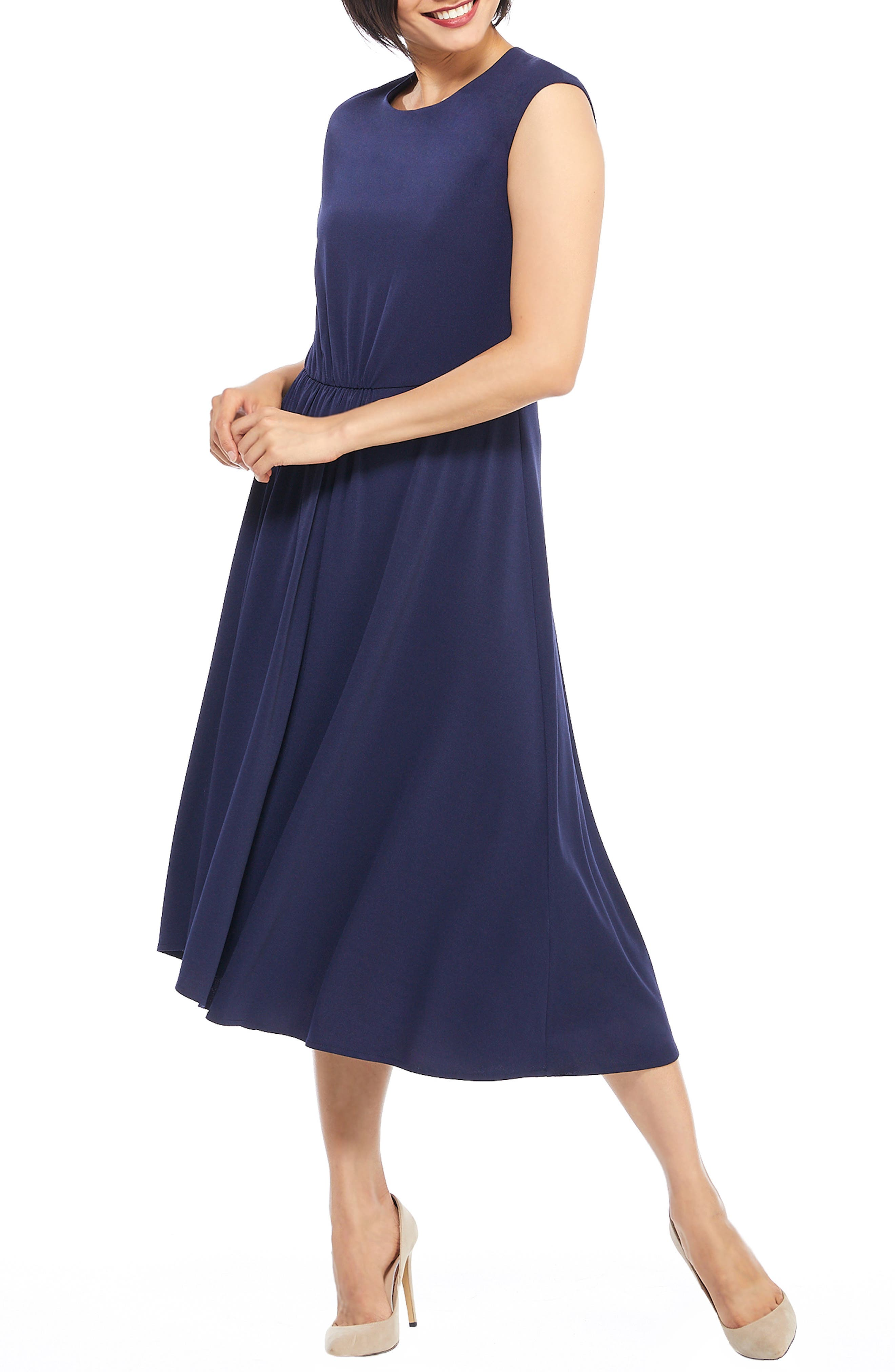 Maggy London Crystal Side Drape Crepe Midi Dress, Blue