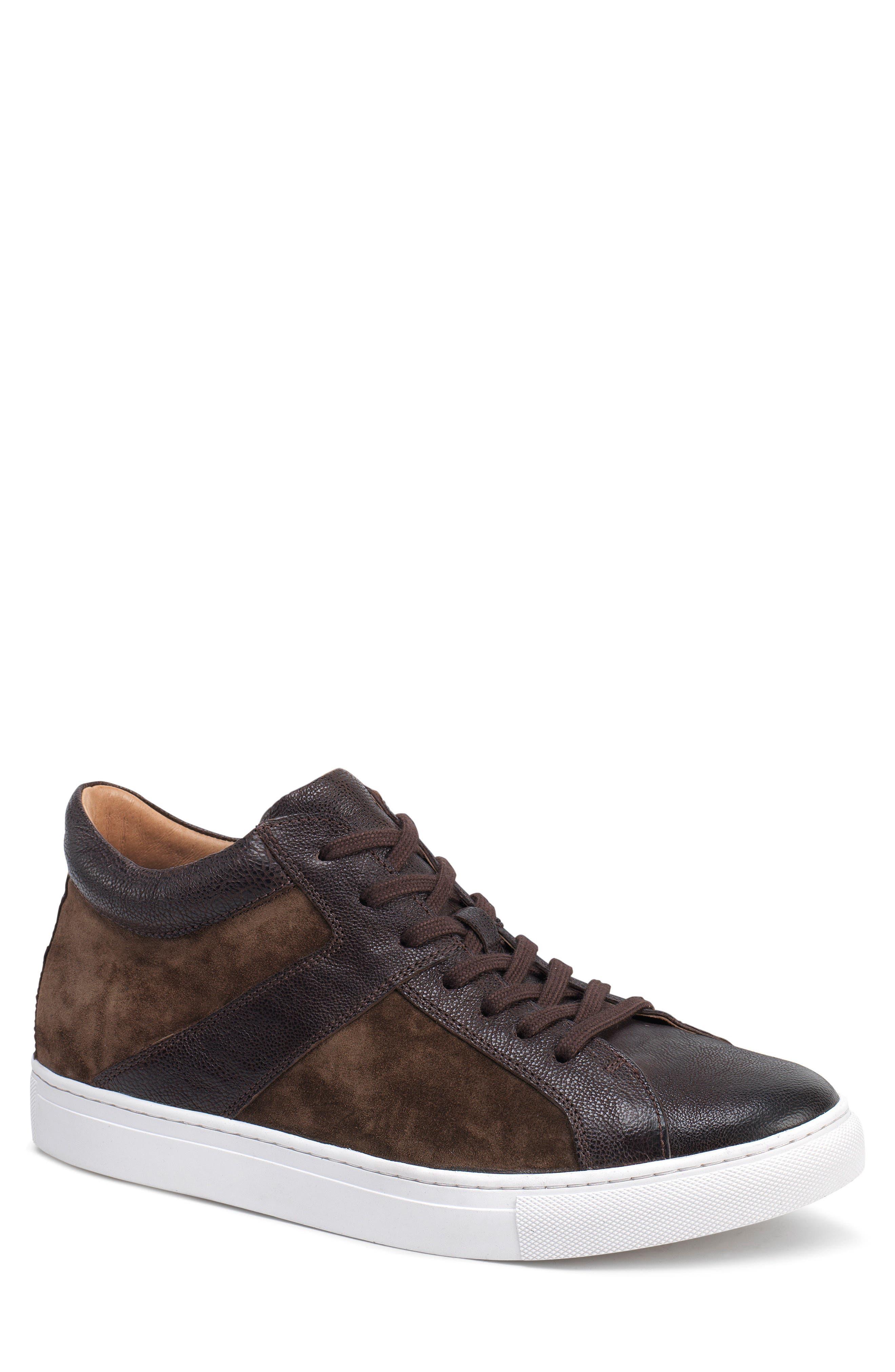 Alec Sneaker,                             Main thumbnail 1, color,                             DARK BROWN LEATHER/SUEDE