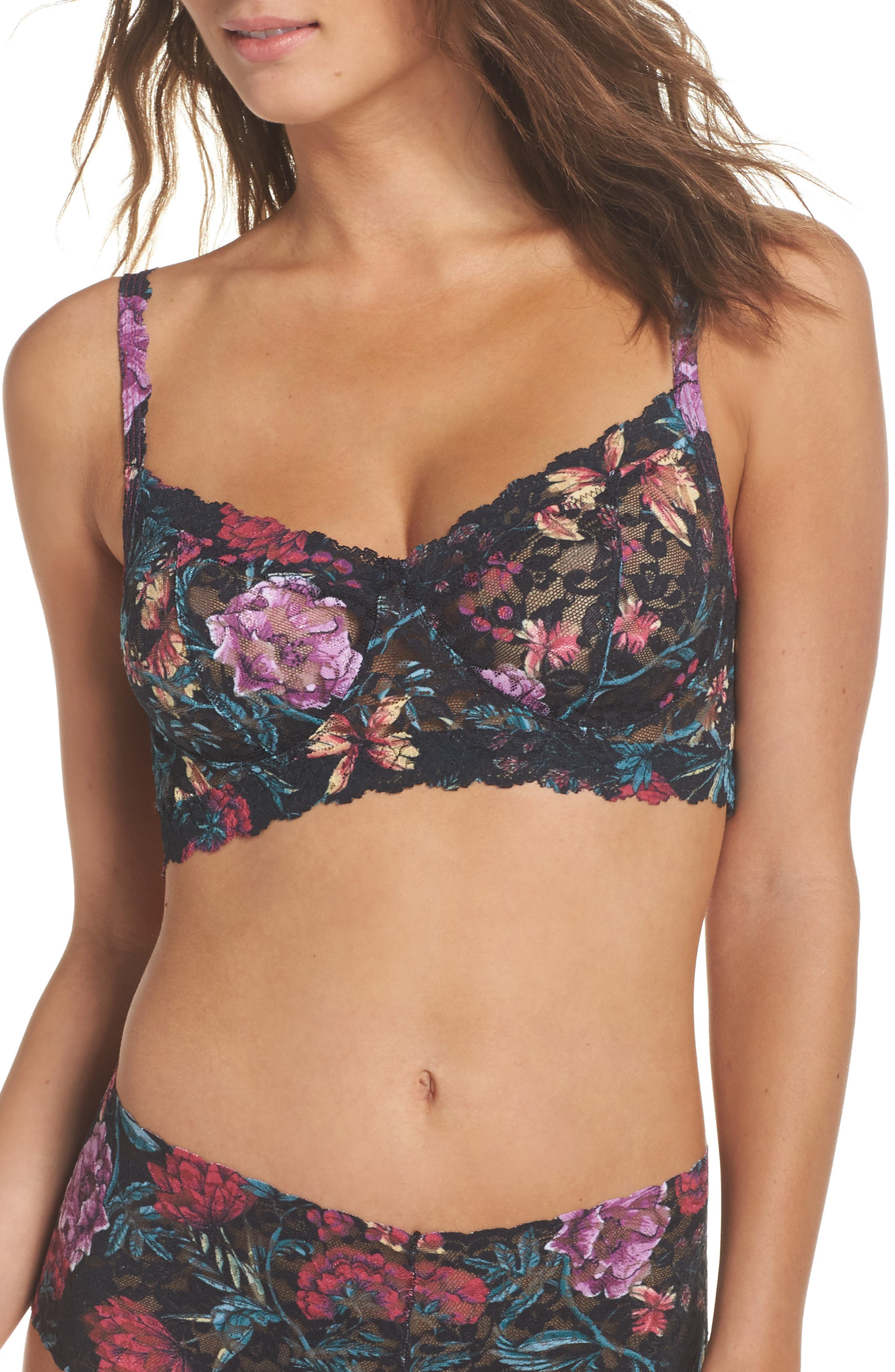 Moody Blooms Retro Bralette,                             Main thumbnail 1, color,                             001