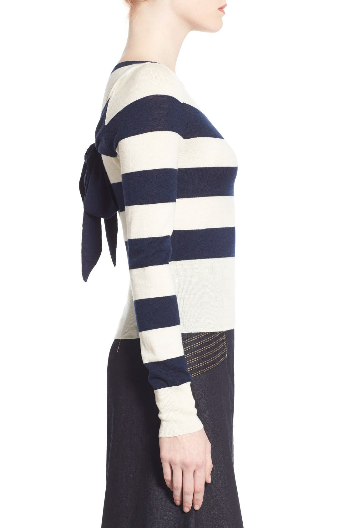 Stripe Wool & Cashmere Pullover,                             Alternate thumbnail 4, color,                             400