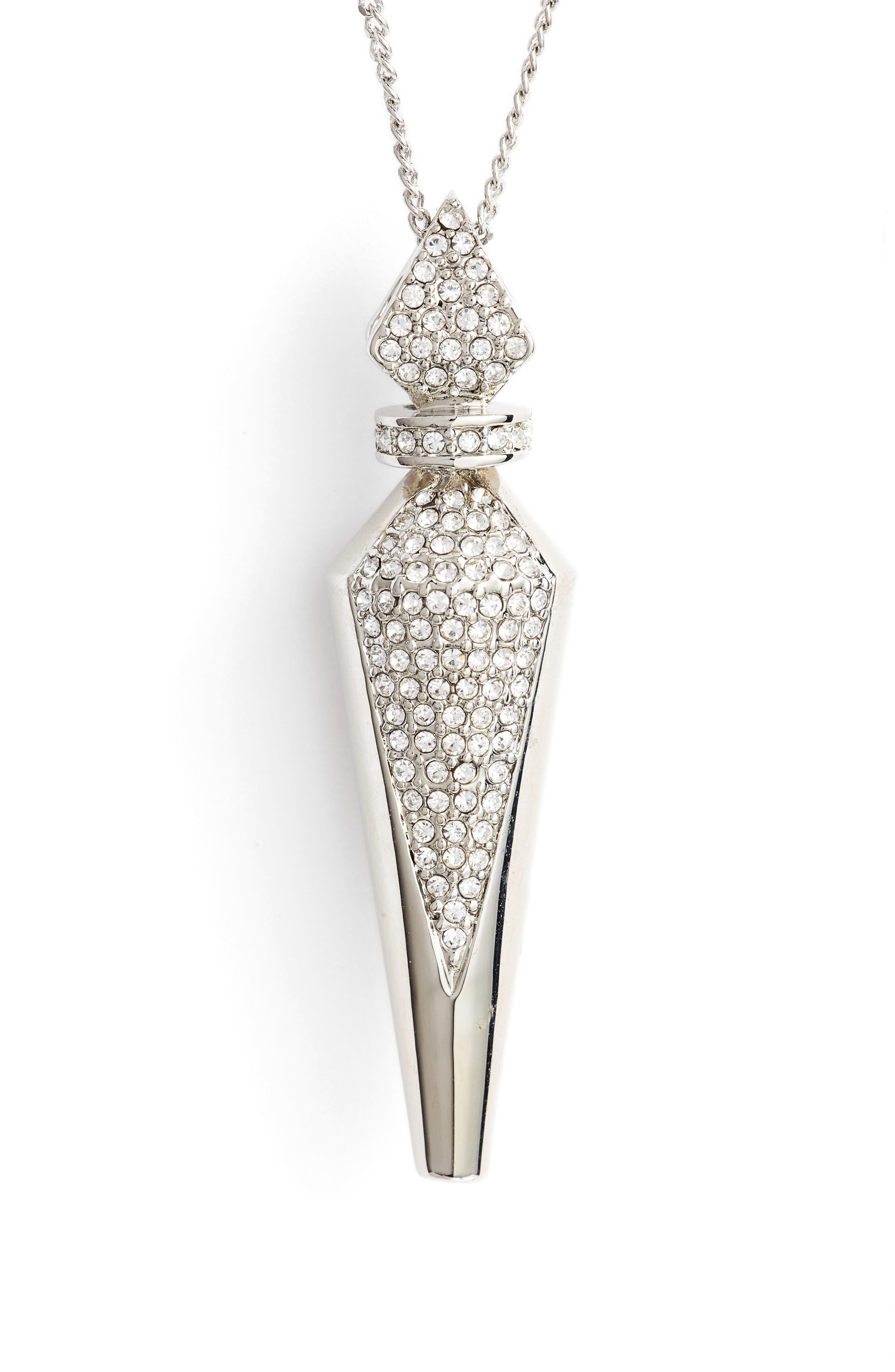 Pavé Crystal Pendant Necklace,                             Alternate thumbnail 2, color,                             040