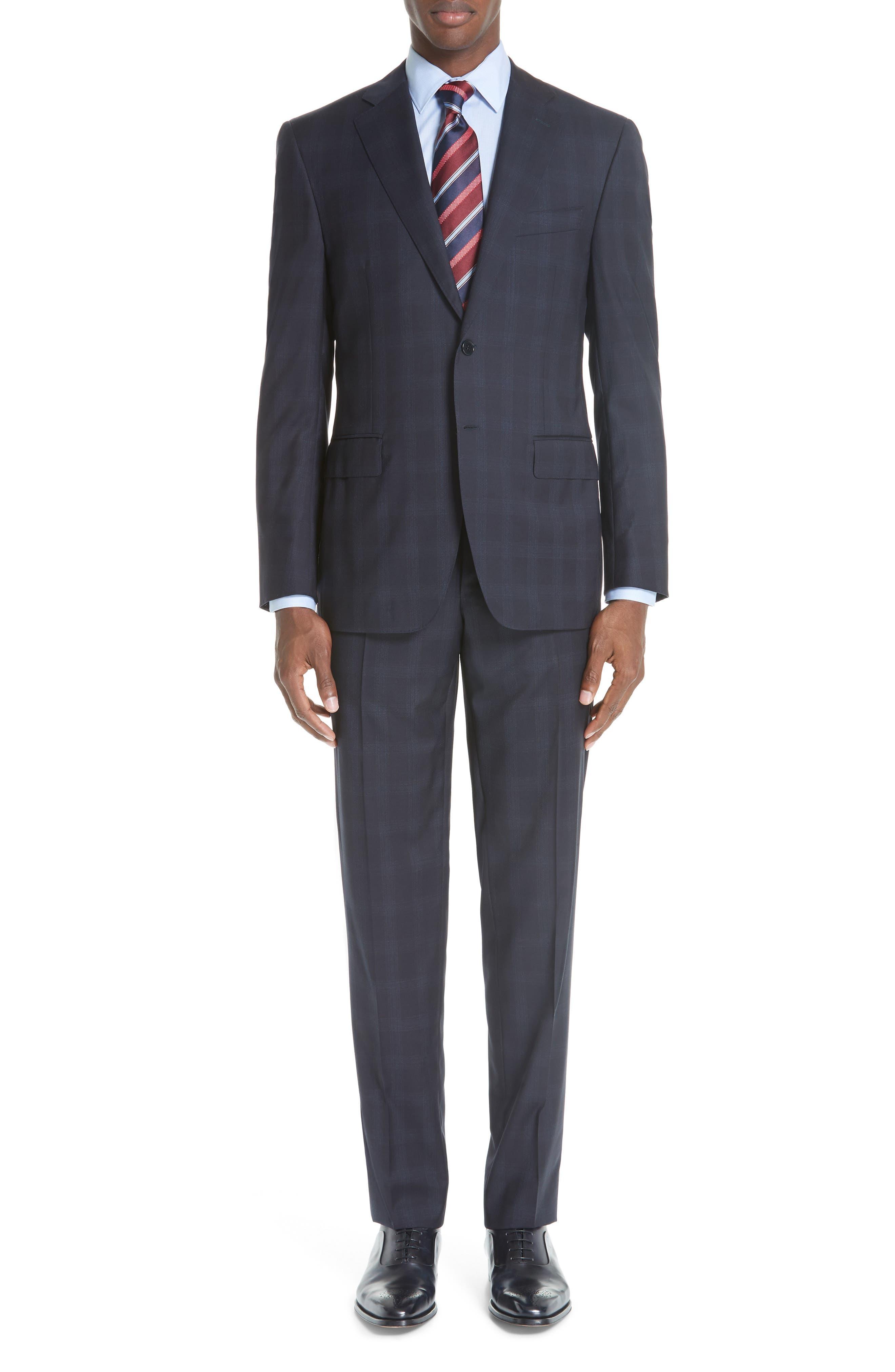 Men's Canali Classic Fit Plaid Wool Suit