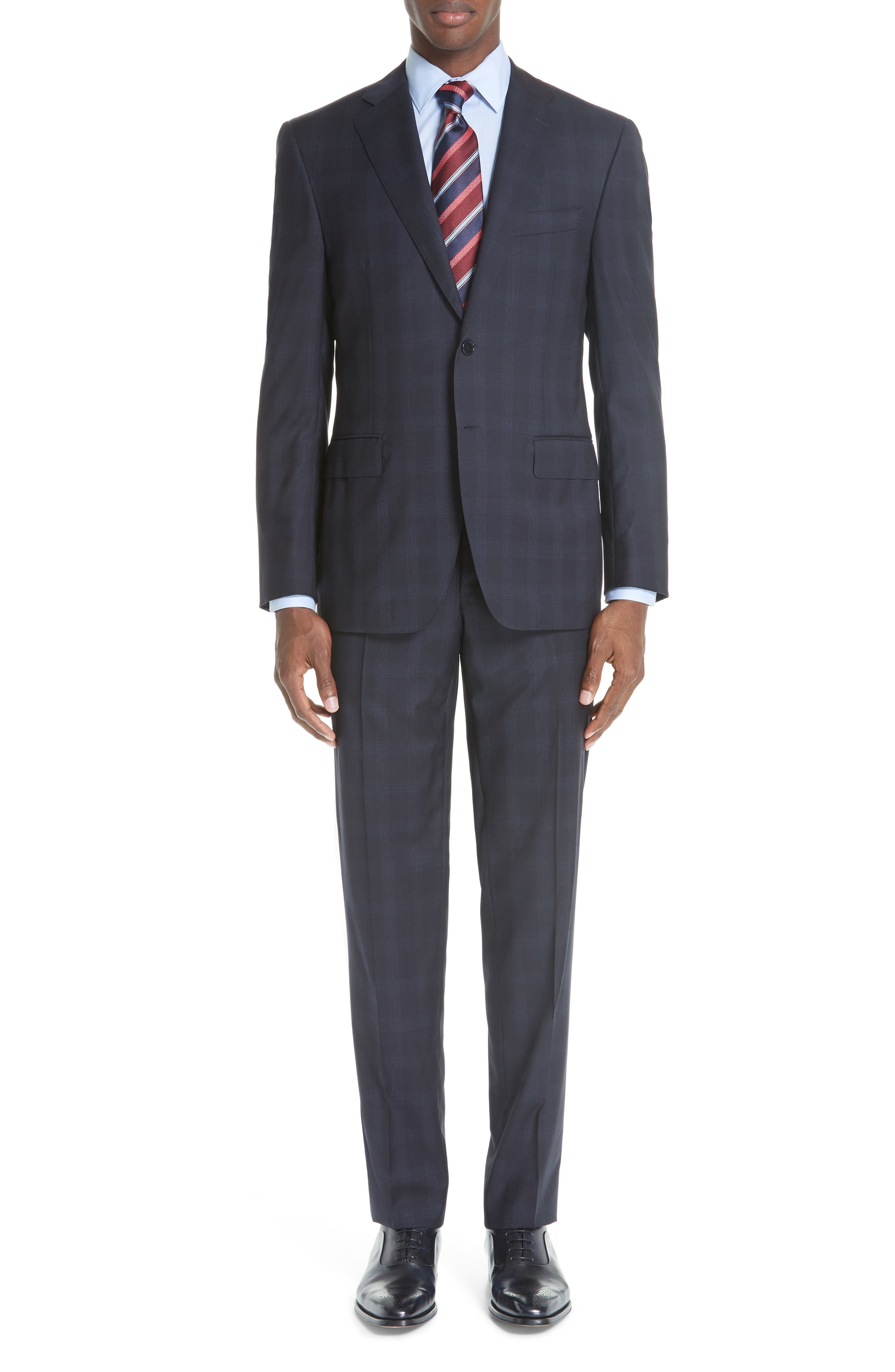 Classic Fit Plaid Wool Suit,                             Main thumbnail 1, color,                             NAVY