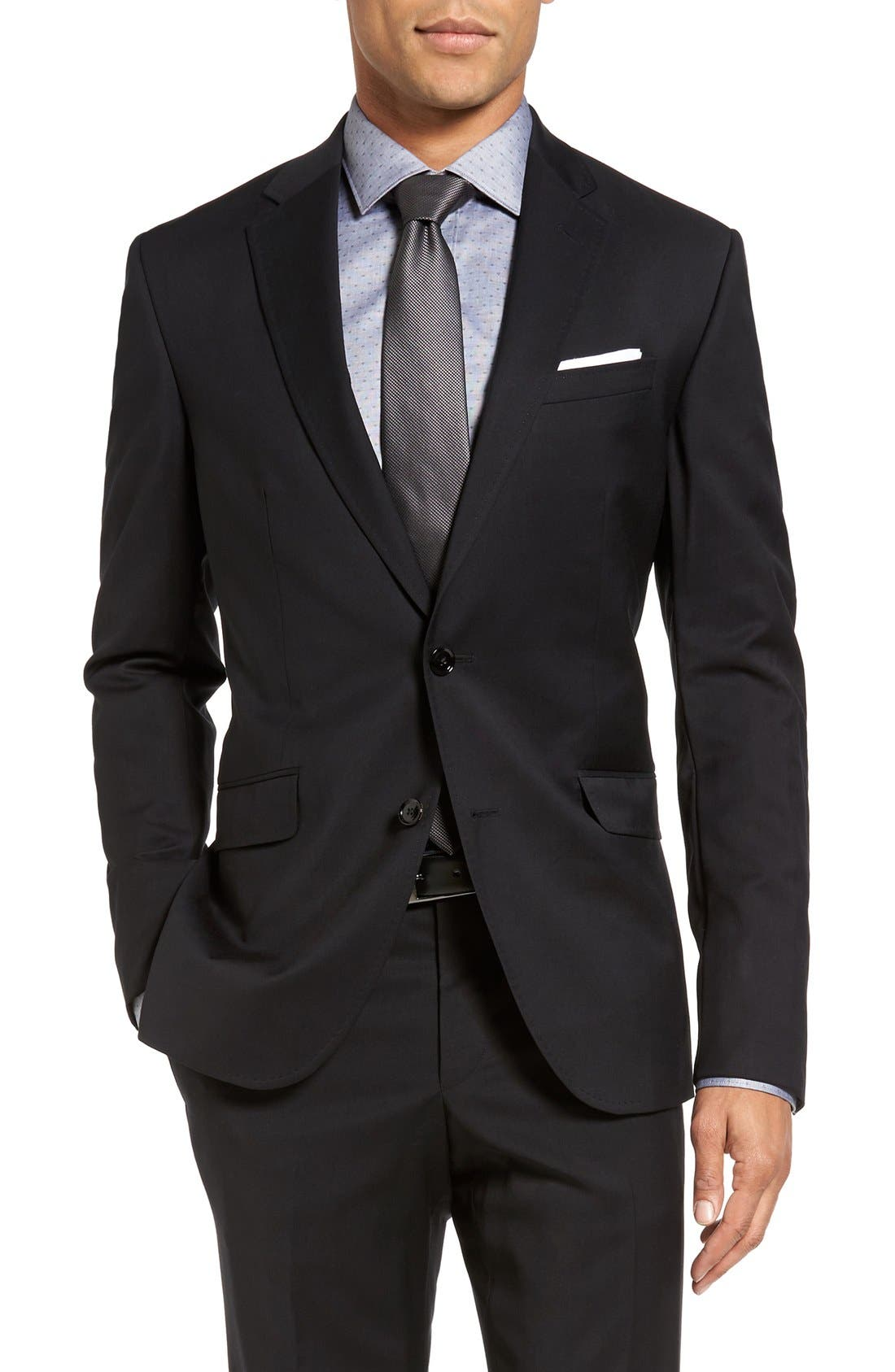 Jones Trim Fit Wool Suit,                             Alternate thumbnail 6, color,                             001