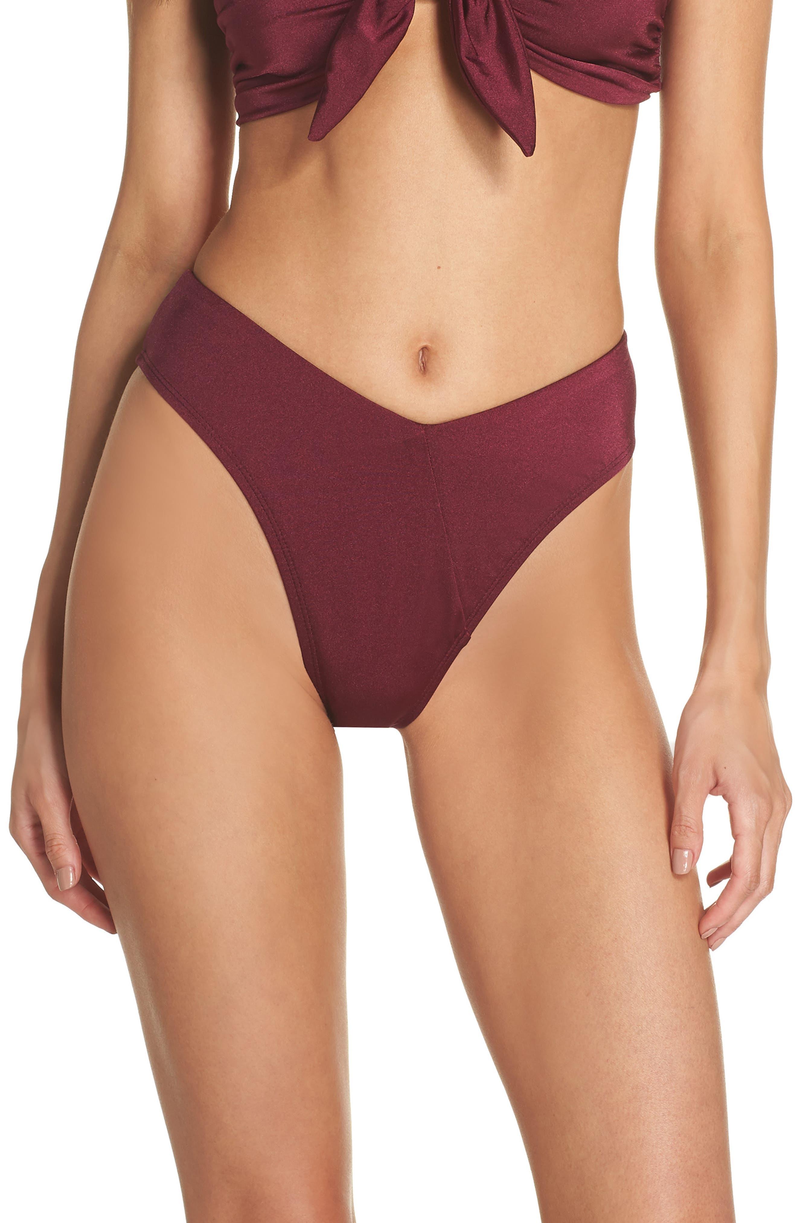 Riviera High Waist Bikini Bottoms,                         Main,                         color, BURGUNDY FIELD