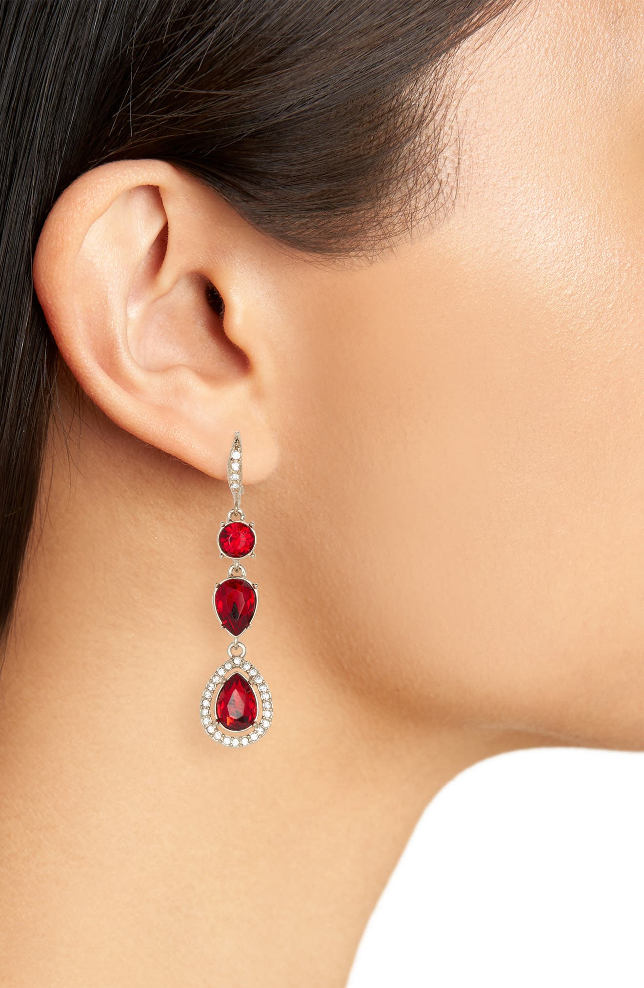 Triple Drop Earrings,                             Alternate thumbnail 2, color,                             RED/ GOLD