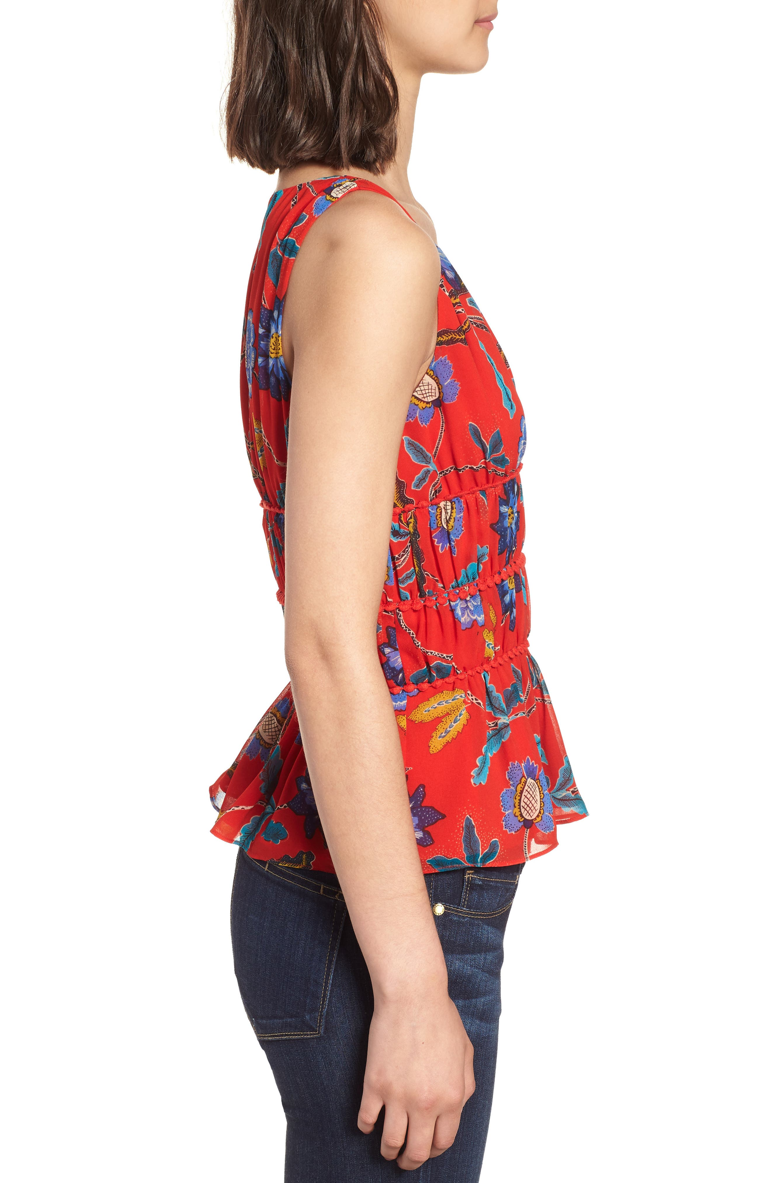 Lucy Floral Top,                             Alternate thumbnail 3, color,                             RED MULTI
