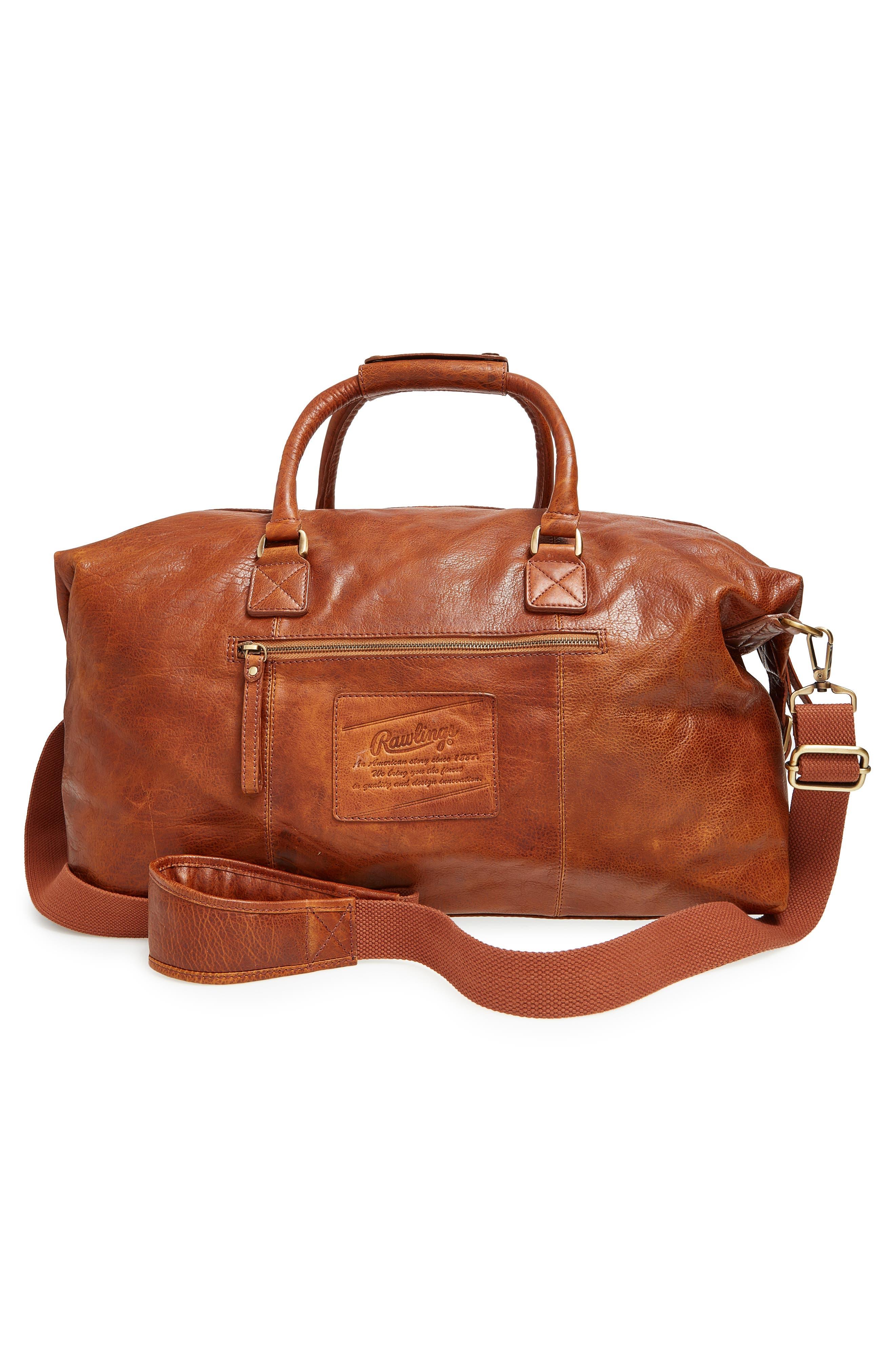 'Rugged' Leather Duffel Bag,                             Alternate thumbnail 4, color,                             COGNAC