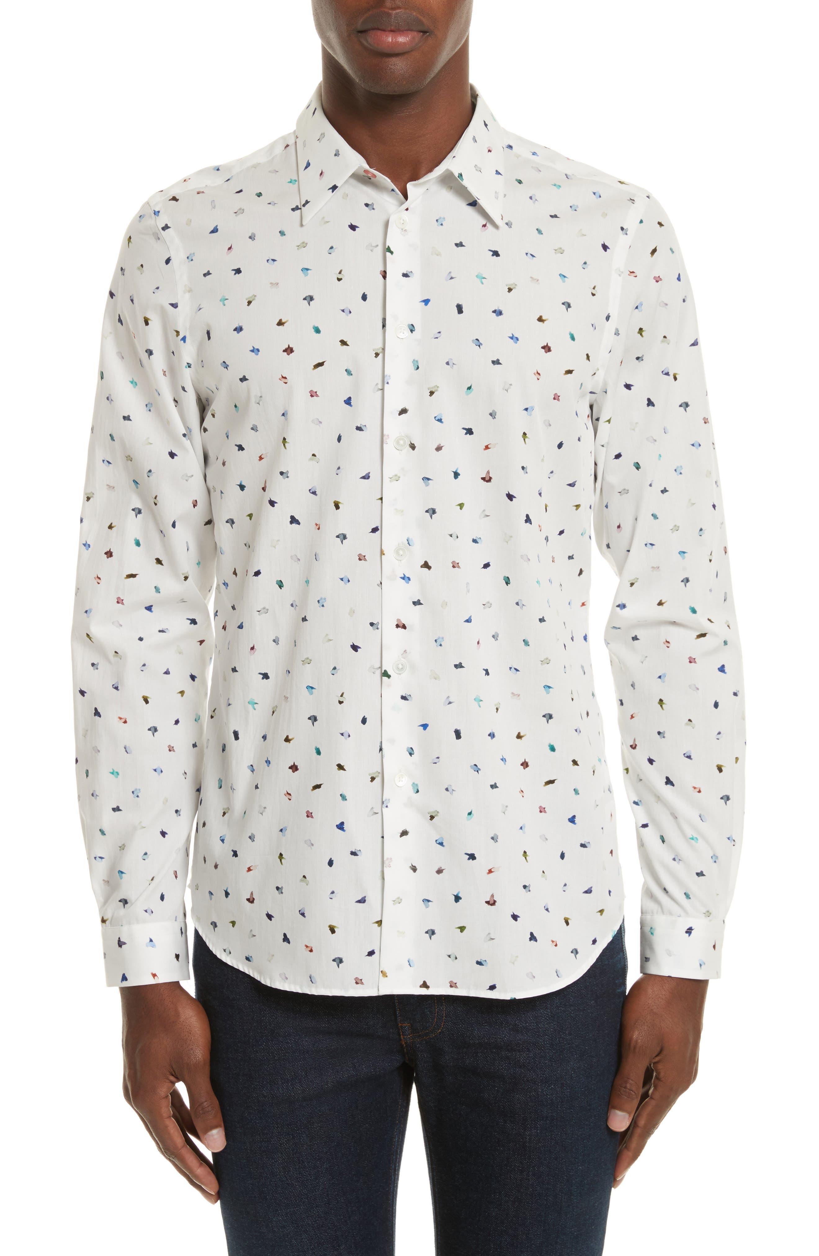 Mini Bird Print Woven Shirt,                             Main thumbnail 1, color,                             100