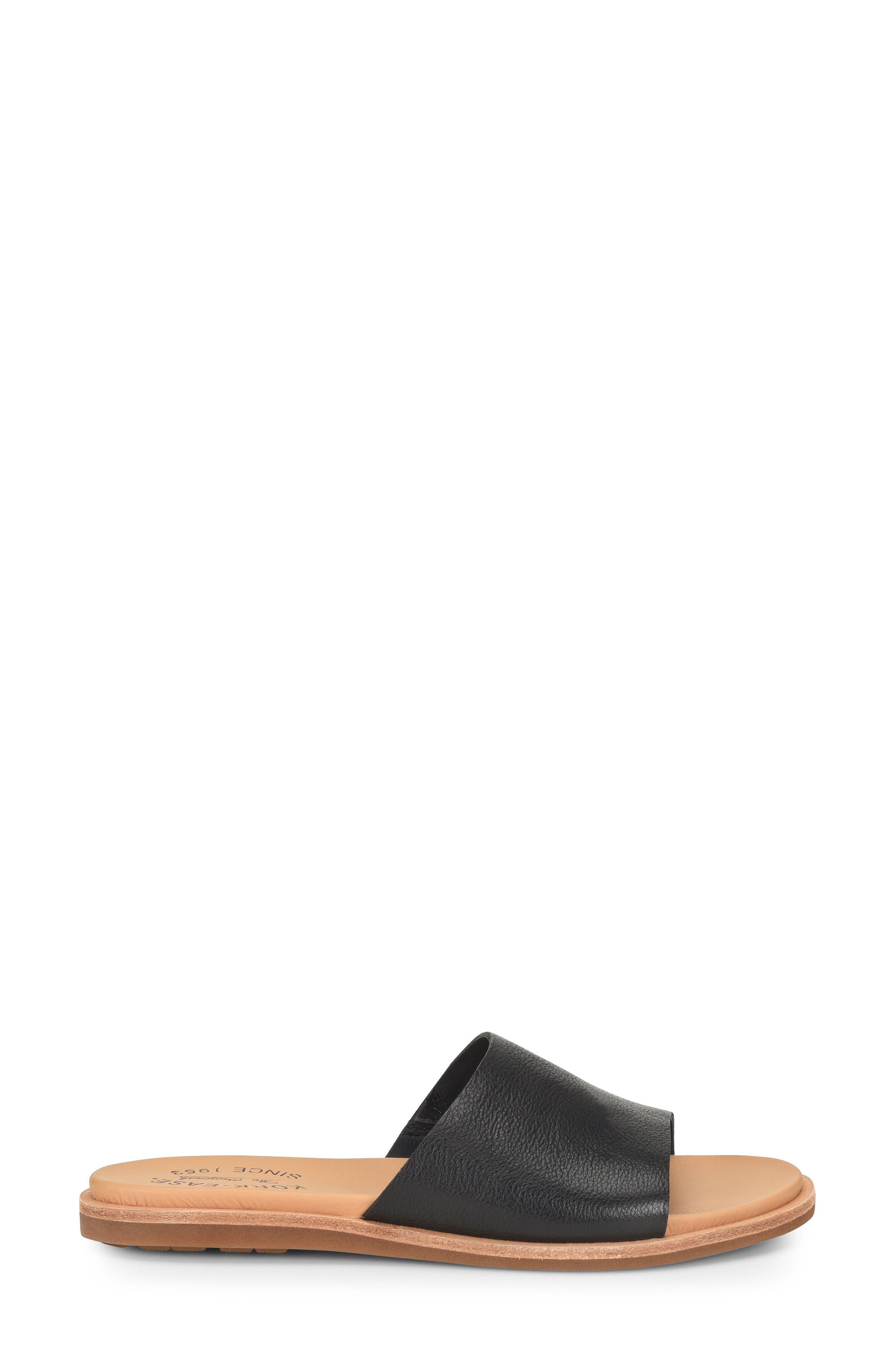 Gila Slide Sandal,                             Alternate thumbnail 3, color,                             BLACK LEATHER
