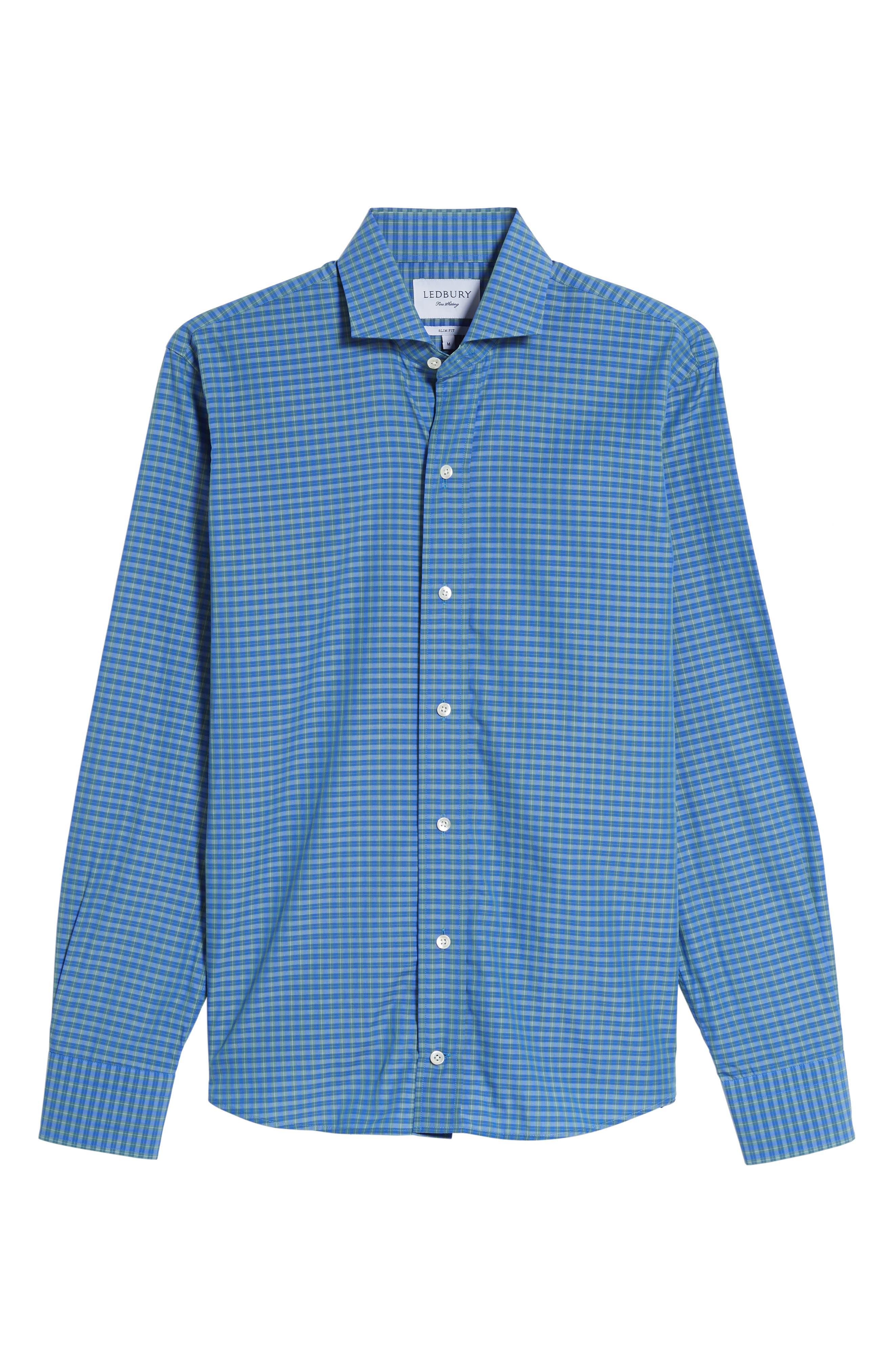Alden Slim Fit Plaid Sport Shirt,                             Alternate thumbnail 6, color,                             306
