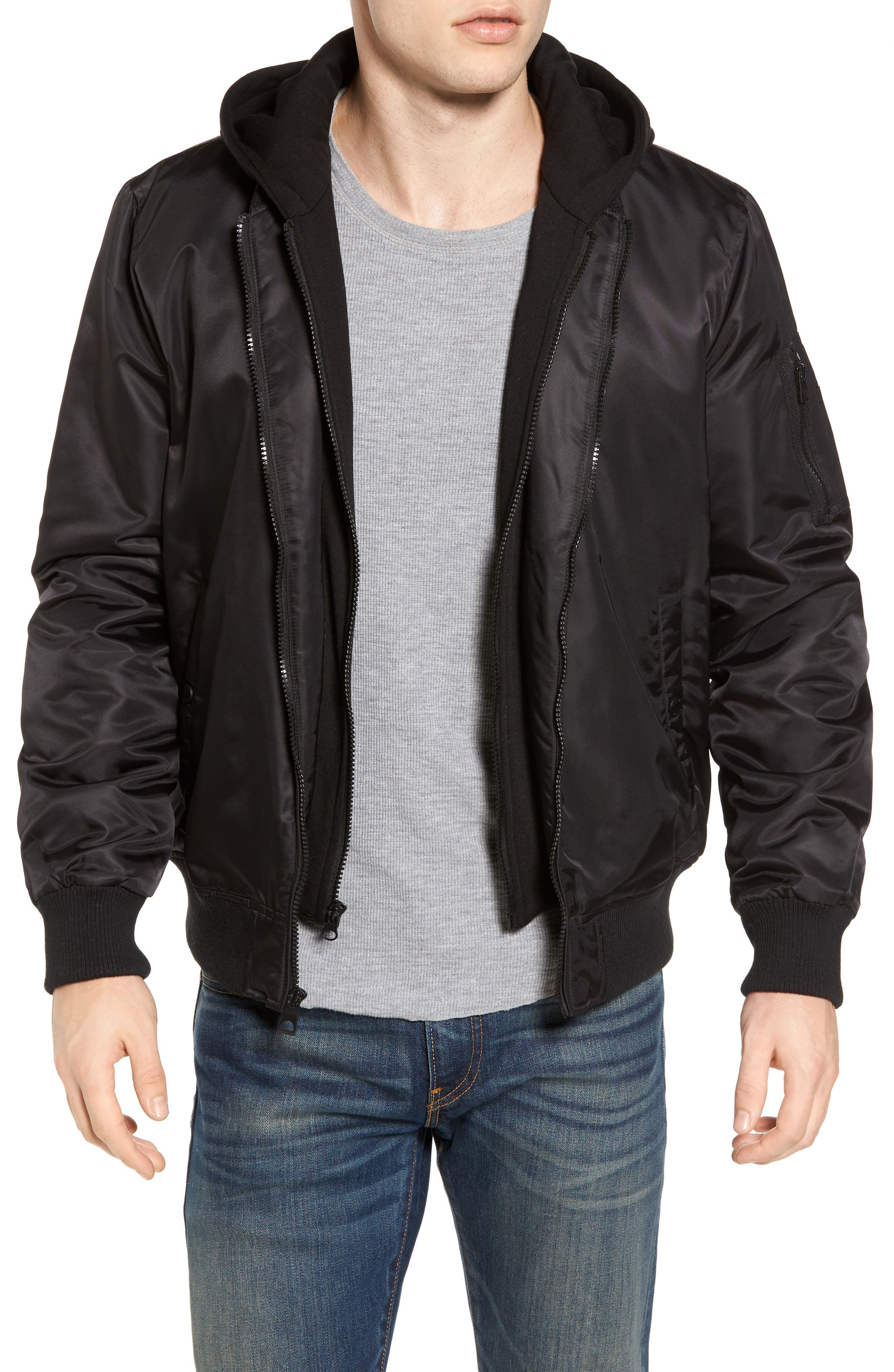 Water Resistant Hooded Satin Flight Jacket,                             Main thumbnail 1, color,