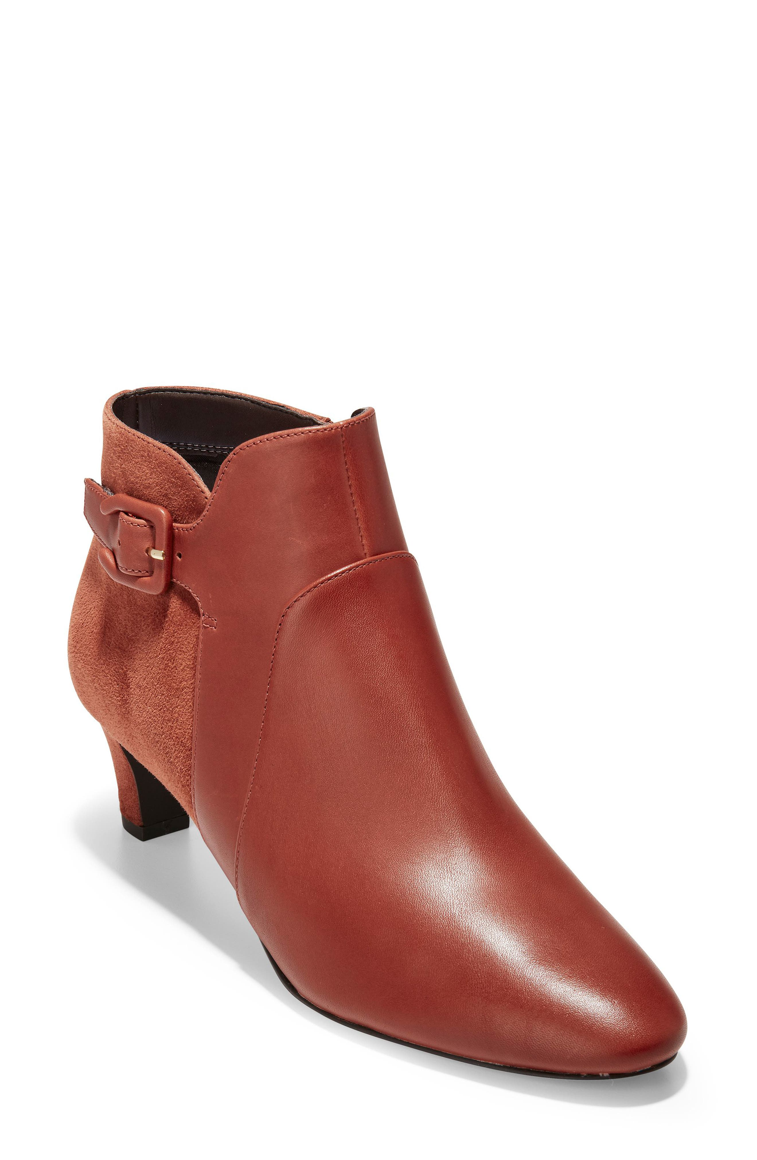 Sylvia Waterproof Bootie,                             Main thumbnail 1, color,                             BRANDY LEATHER