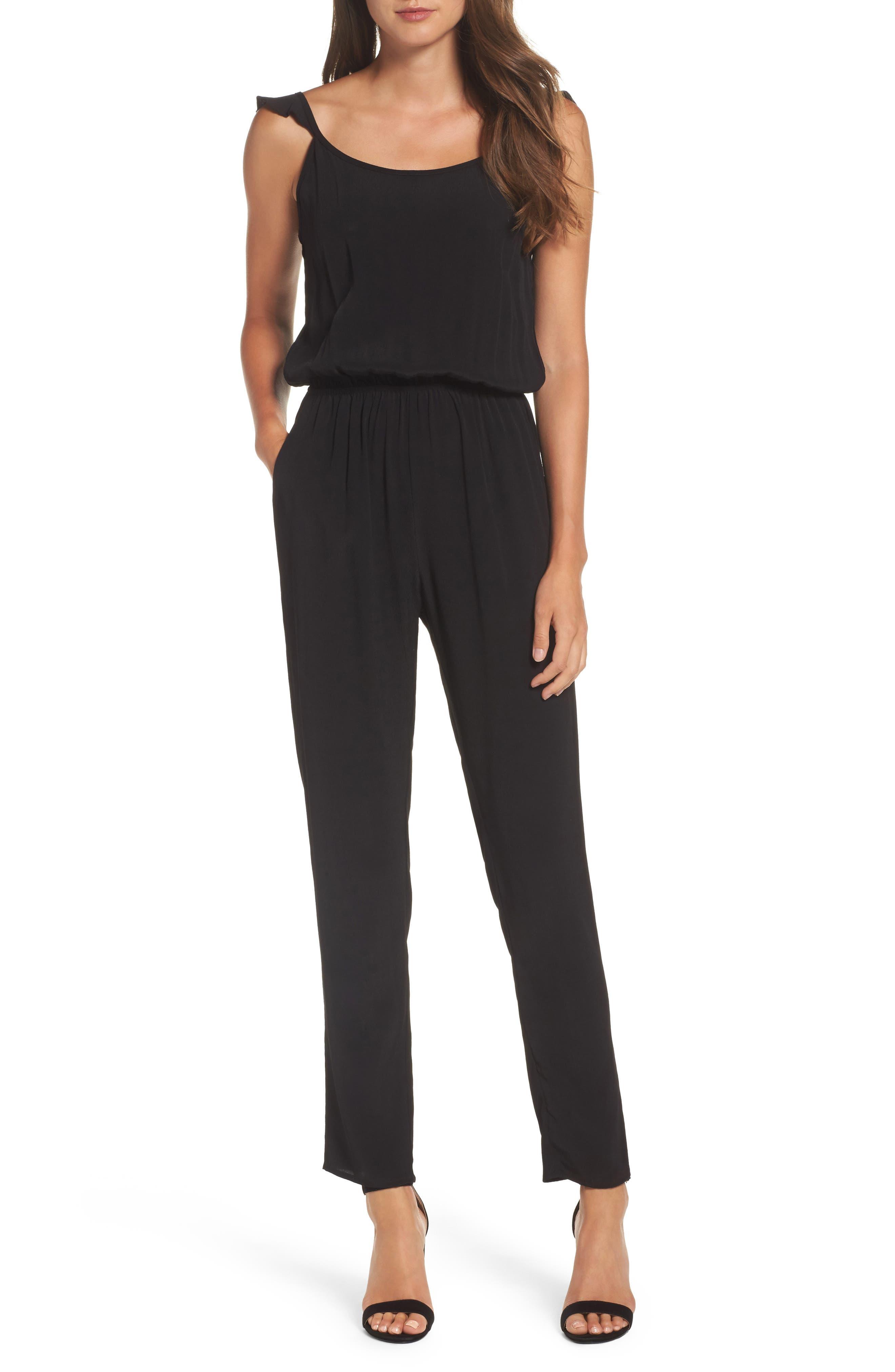 Flutter Sleeve Jumpsuit,                         Main,                         color, BLACK