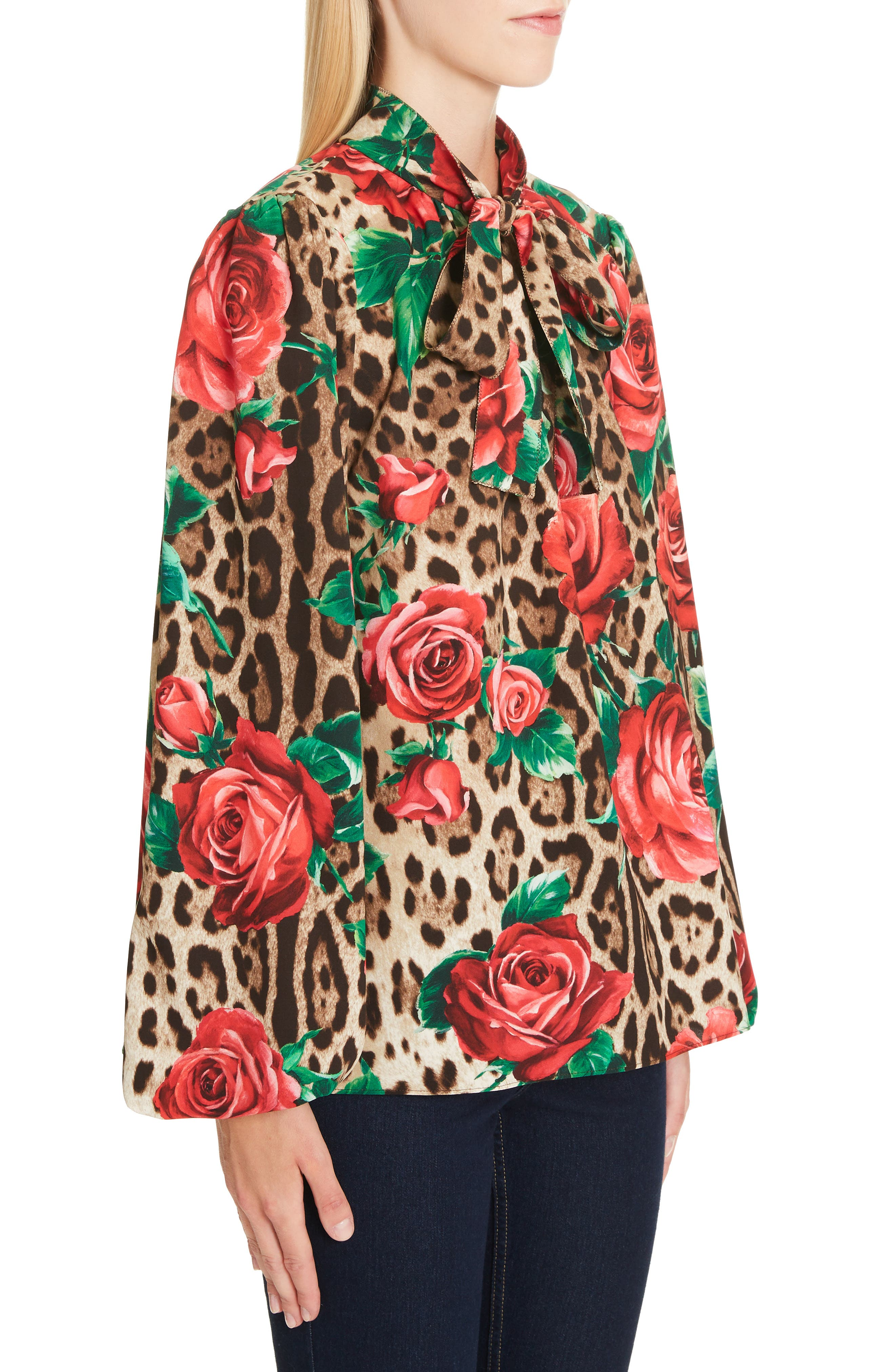 Rose & Leopard Print Tie Neck Stretch Silk Blouse,                             Alternate thumbnail 4, color,                             HKIRS ROSE LEO