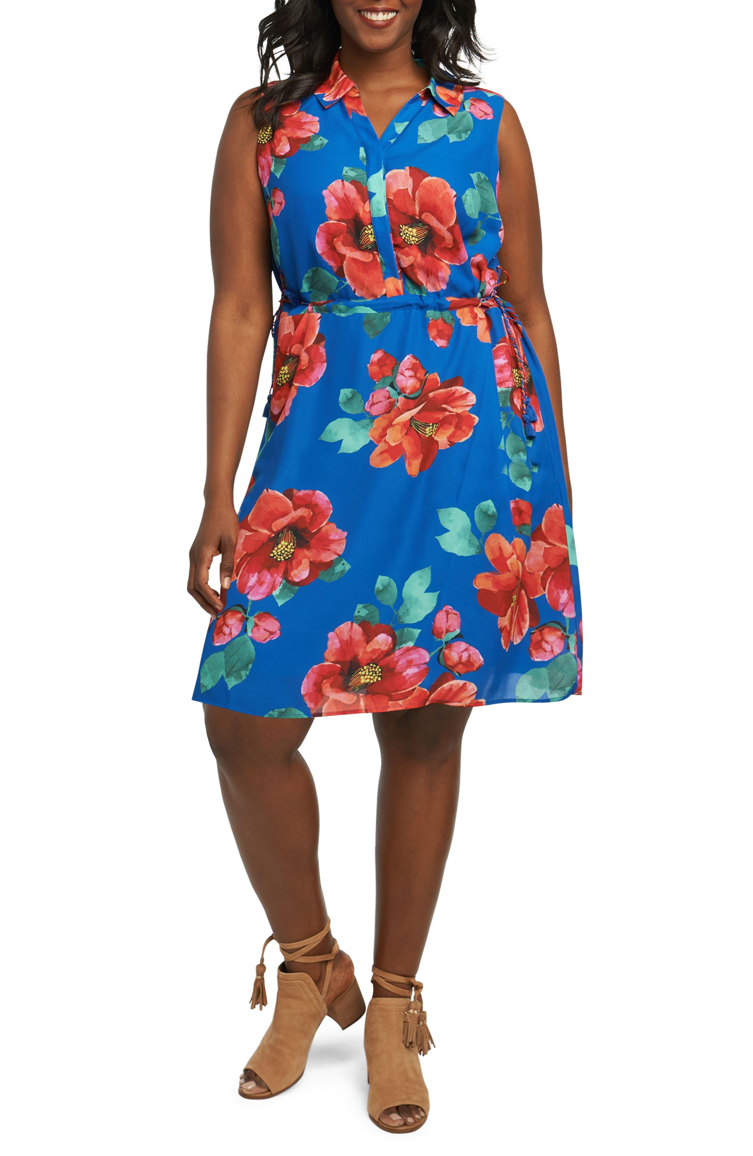 Adessia Hibiscus Floral Tassel Tie Dress,                         Main,                         color, MULTI