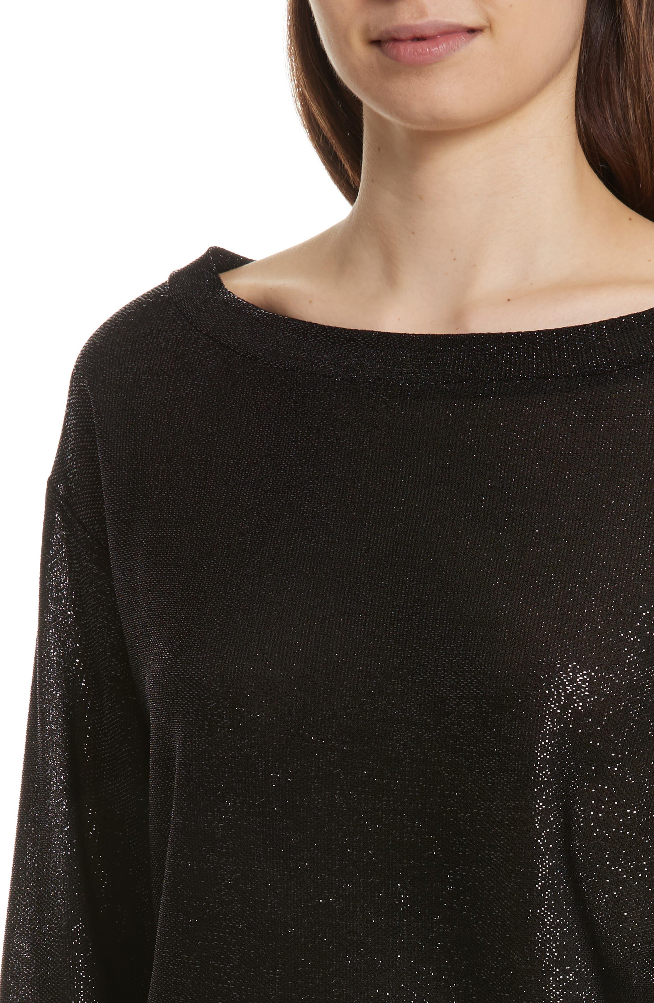 Bateau Neck Shimmer Sweatshirt,                             Alternate thumbnail 4, color,