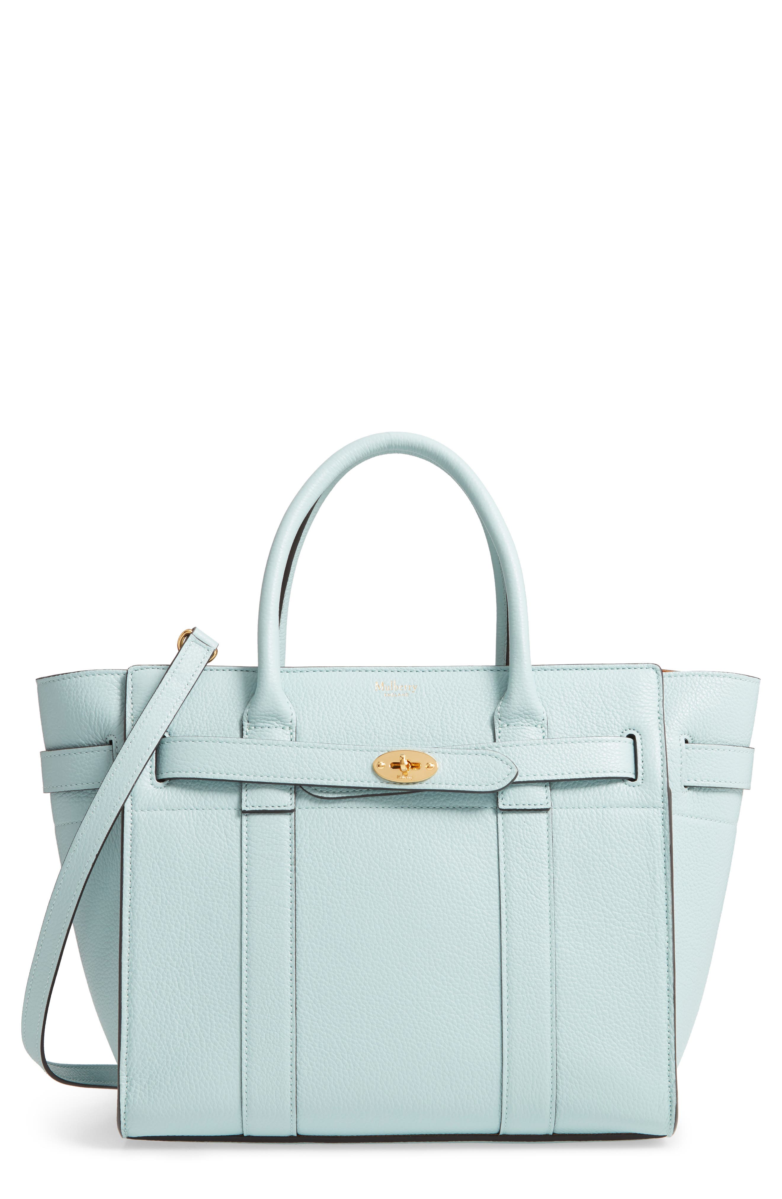 MULBERRY Small Zip Bayswater Classic Leather Tote - Blue in Light Antique Blue