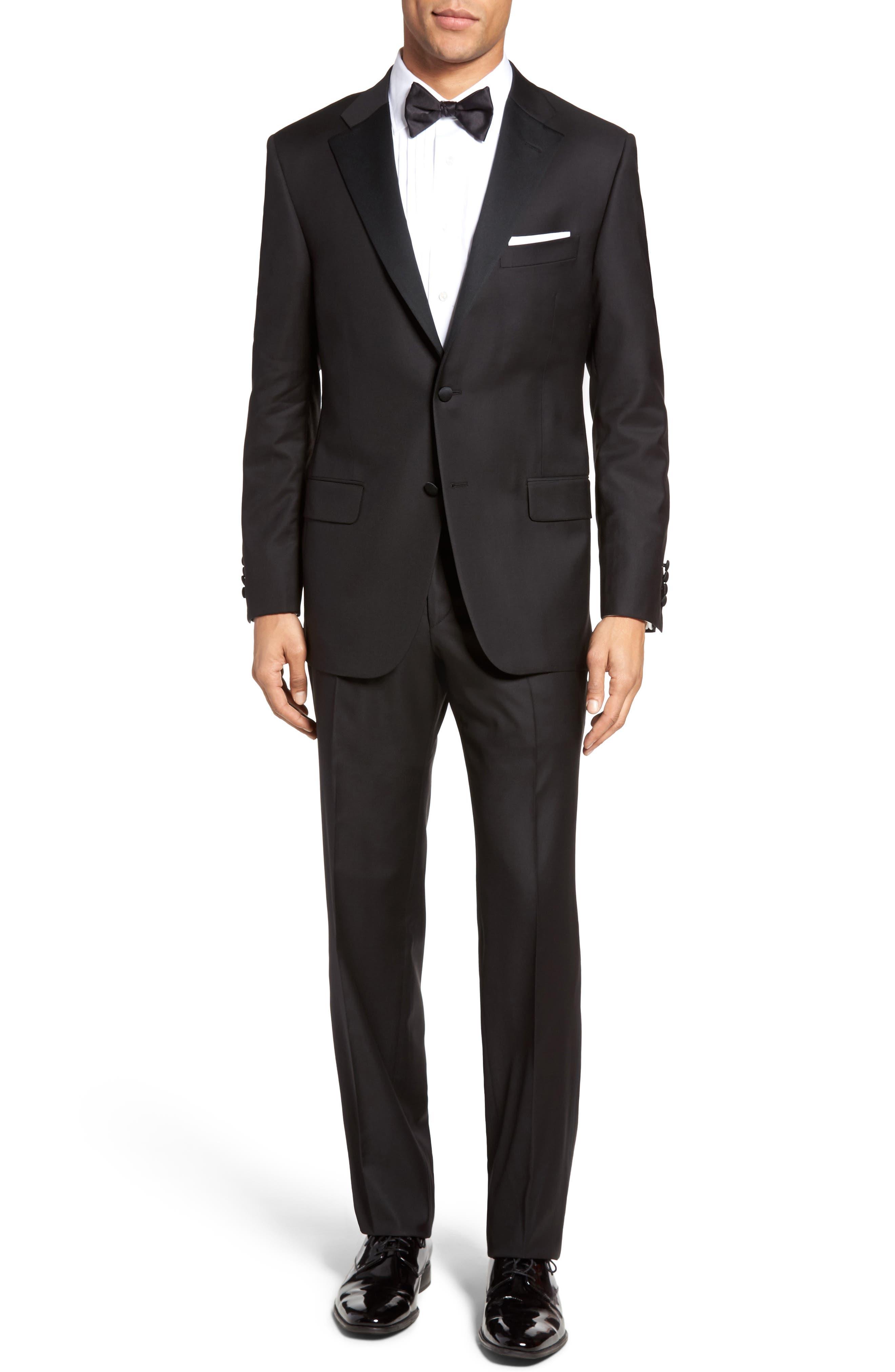 Classic B Fit Wool Tuxedo,                             Main thumbnail 1, color,                             BLACK