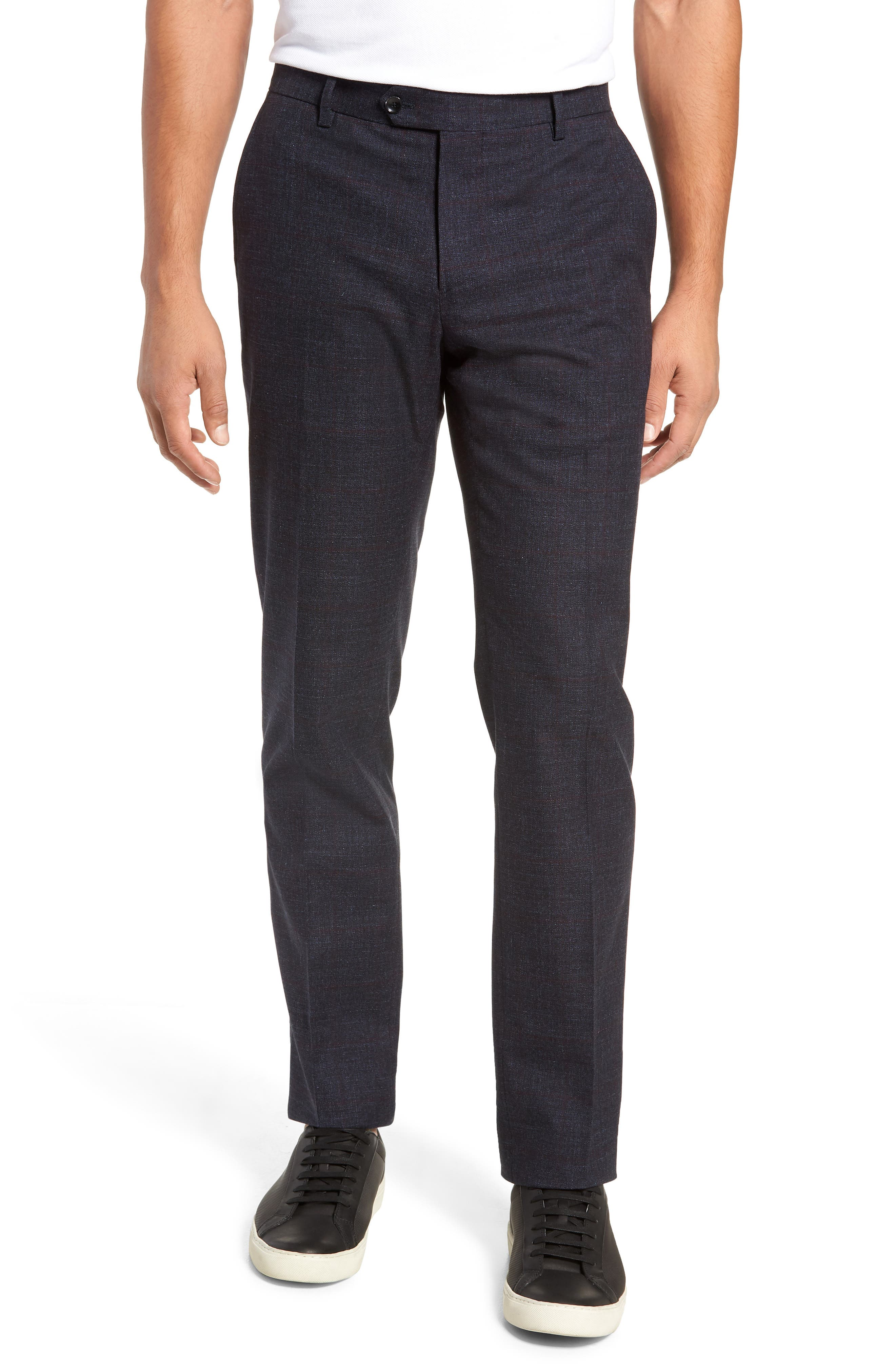 Flat Front Windowpane Stretch Cotton Trousers,                             Main thumbnail 1, color,                             NAVY
