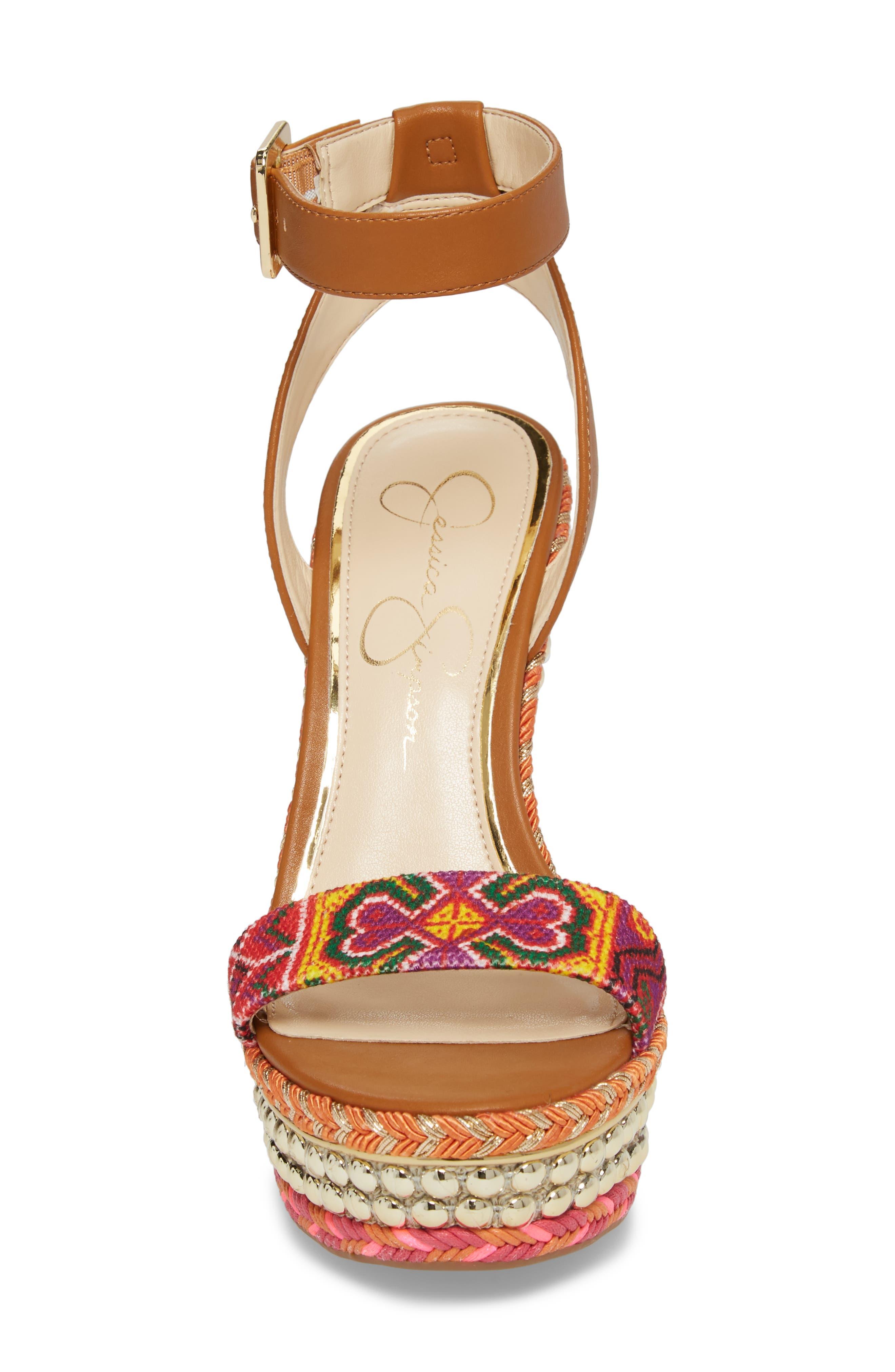 Alinda Embellished Wedge Sandal,                             Alternate thumbnail 8, color,