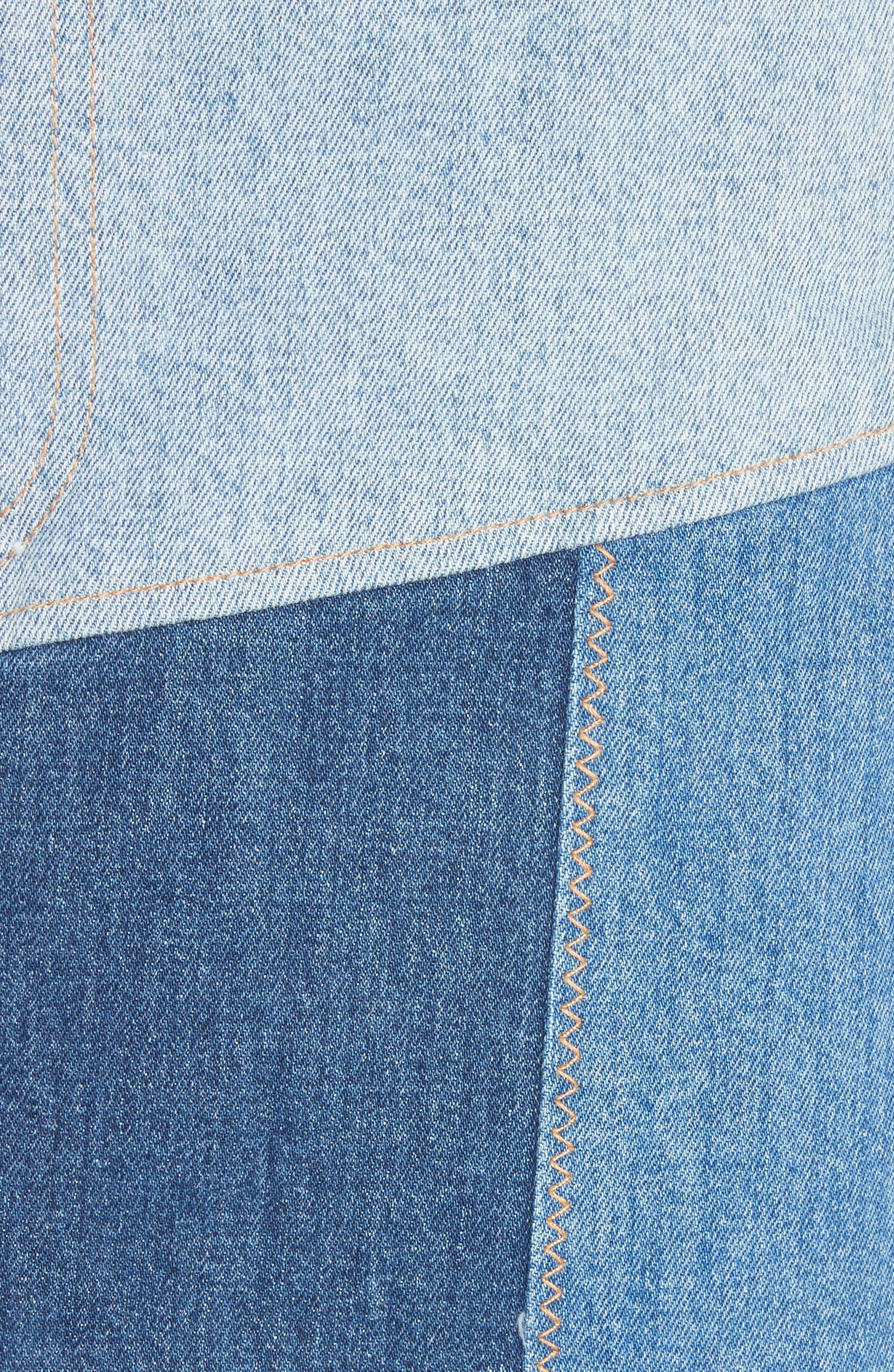 AO.LA Patchwork Denim Miniskirt,                             Alternate thumbnail 5, color,                             485