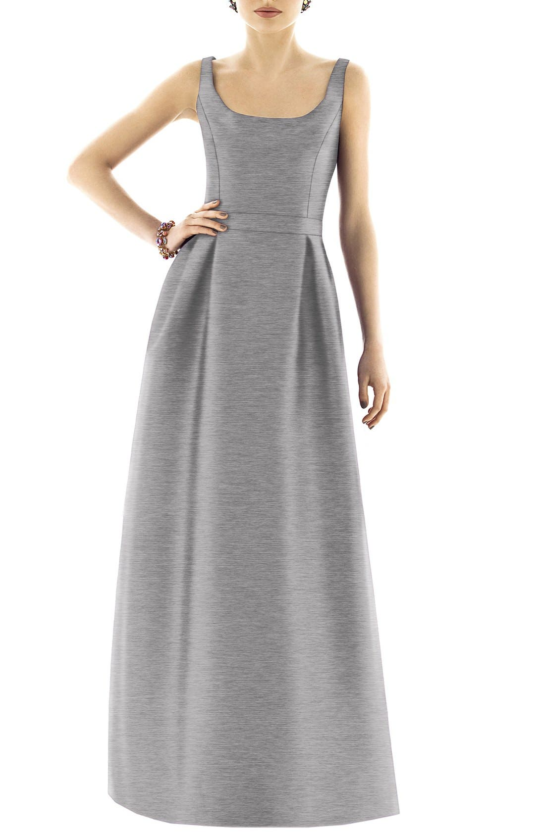 Scoop Neck Dupioni Full Length Dress,                             Alternate thumbnail 12, color,