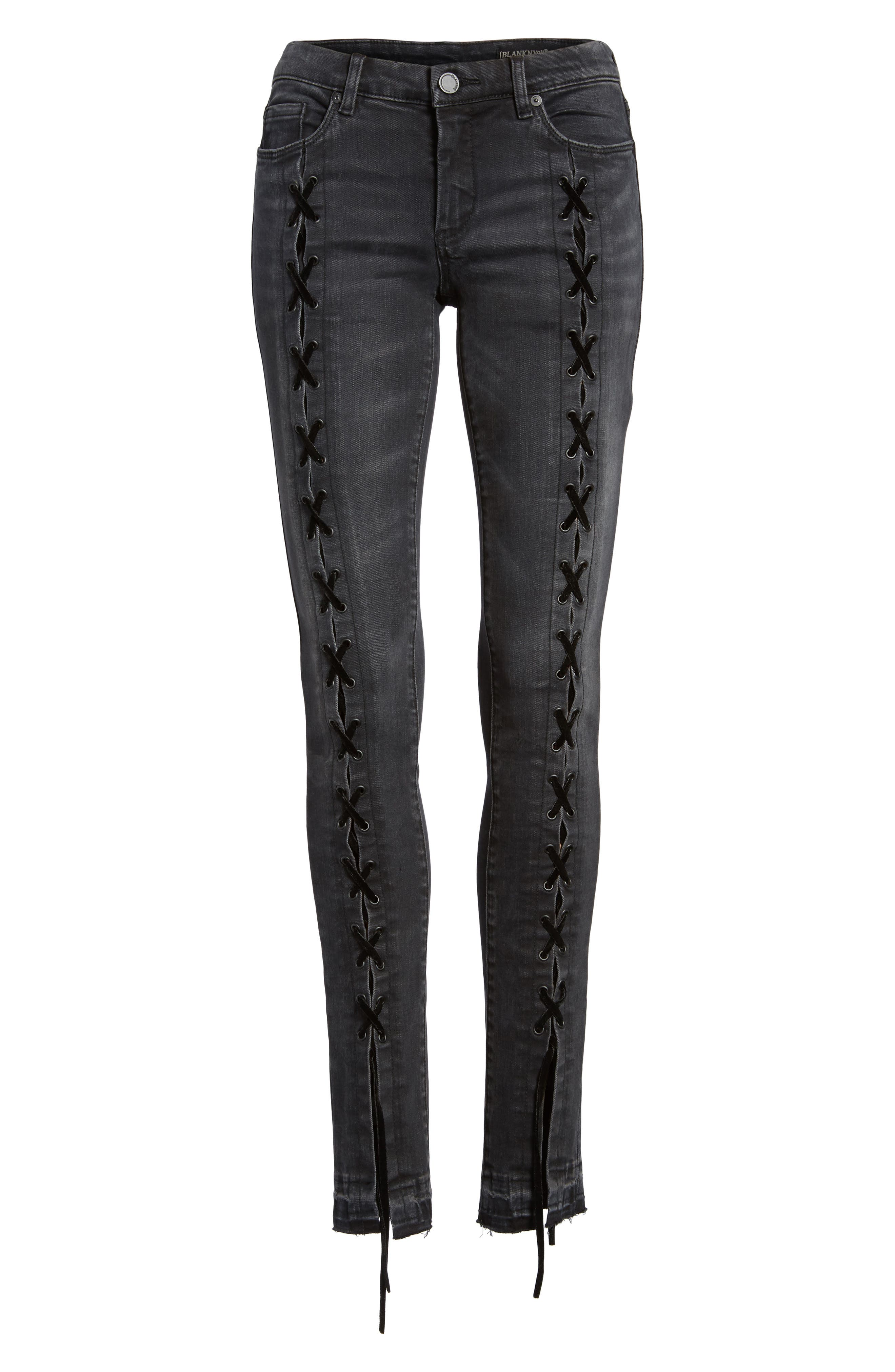 Crash Tactics Lace Up Skinny Jeans,                             Alternate thumbnail 6, color,