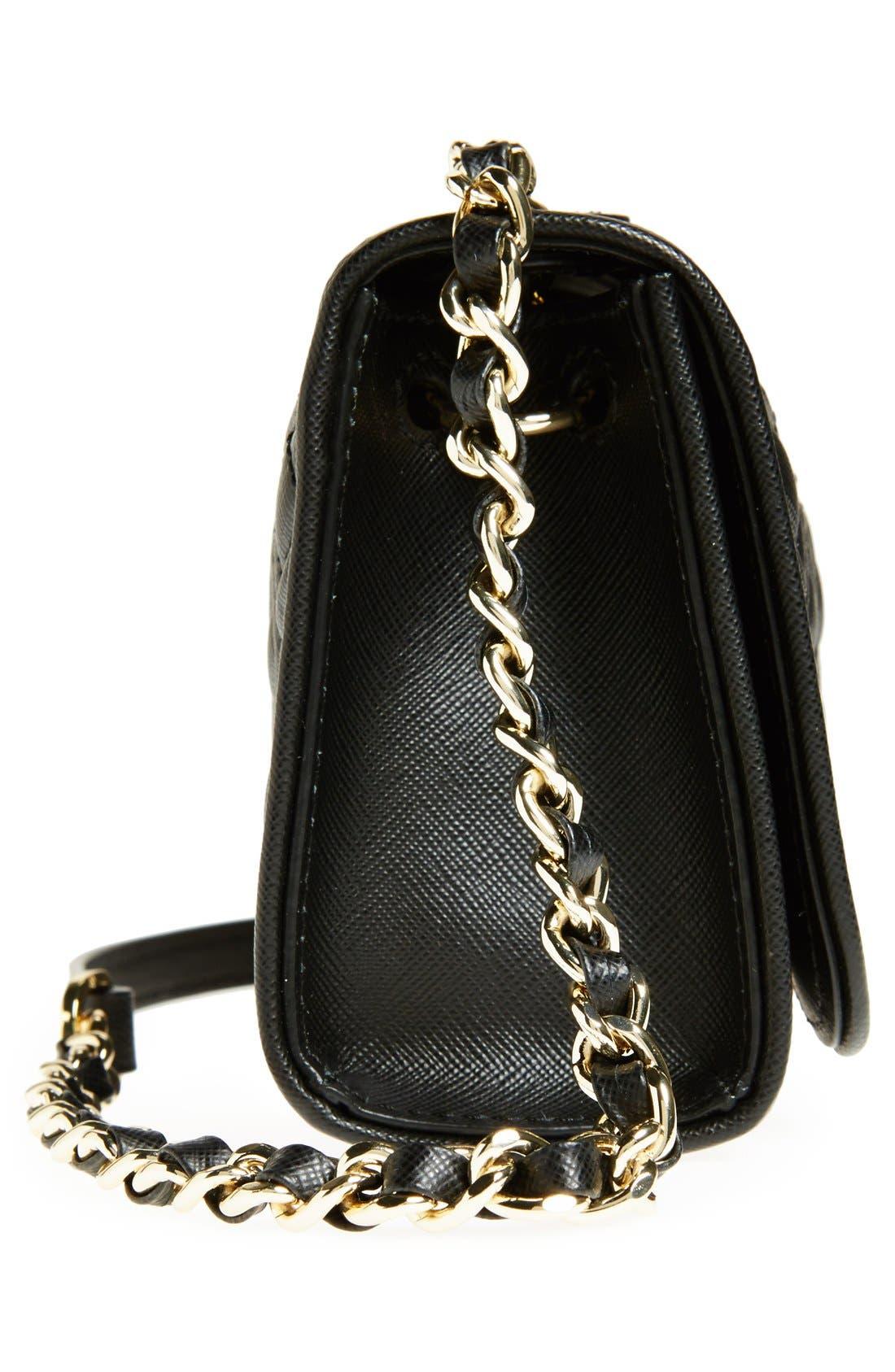 'Mini Fleming' Saffiano Leather Shoulder Bag,                             Alternate thumbnail 2, color,                             001