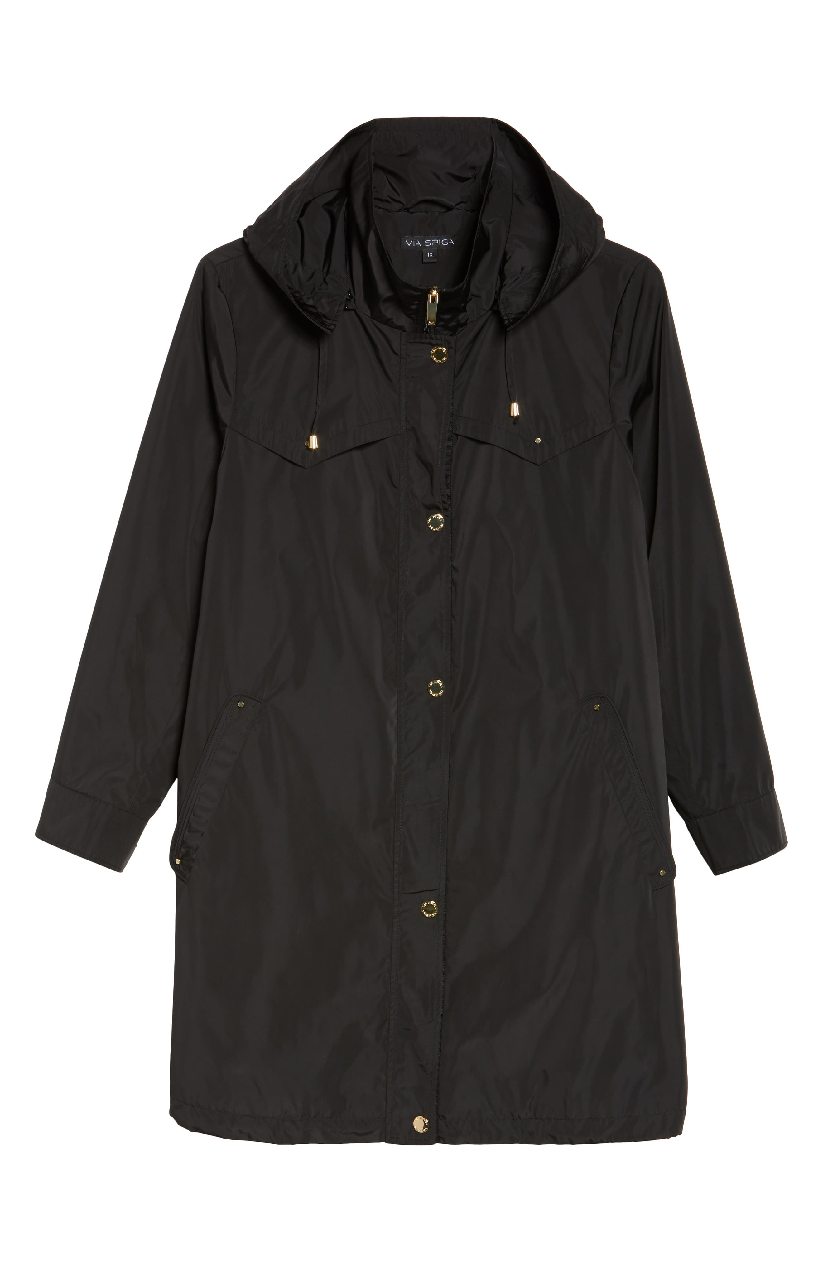 Hooded Packable Utility Coat,                             Alternate thumbnail 5, color,                             001