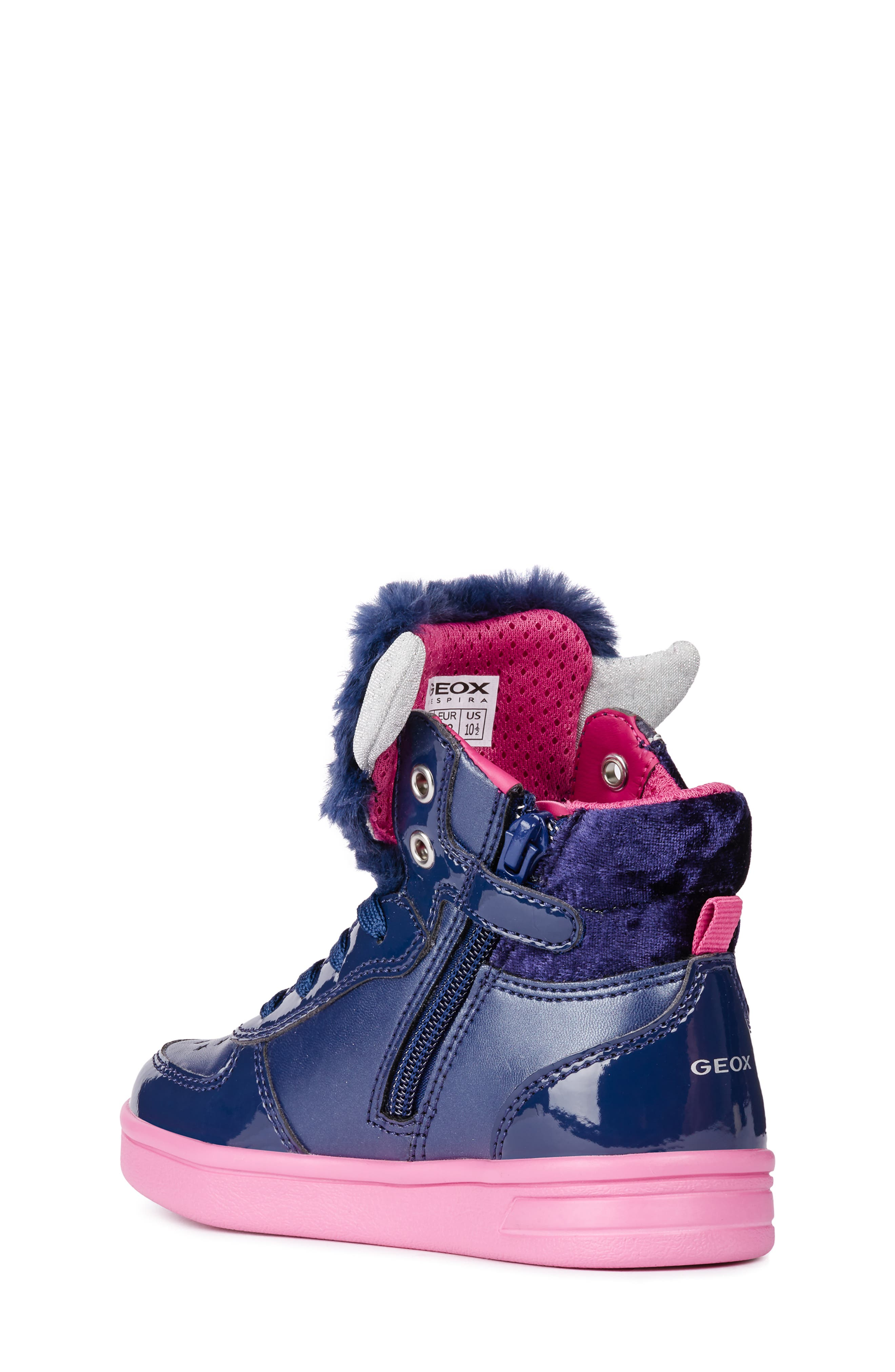 DJ Rock Fuzzy Friend Sneaker,                             Alternate thumbnail 2, color,                             NAVY/FUCHSIA