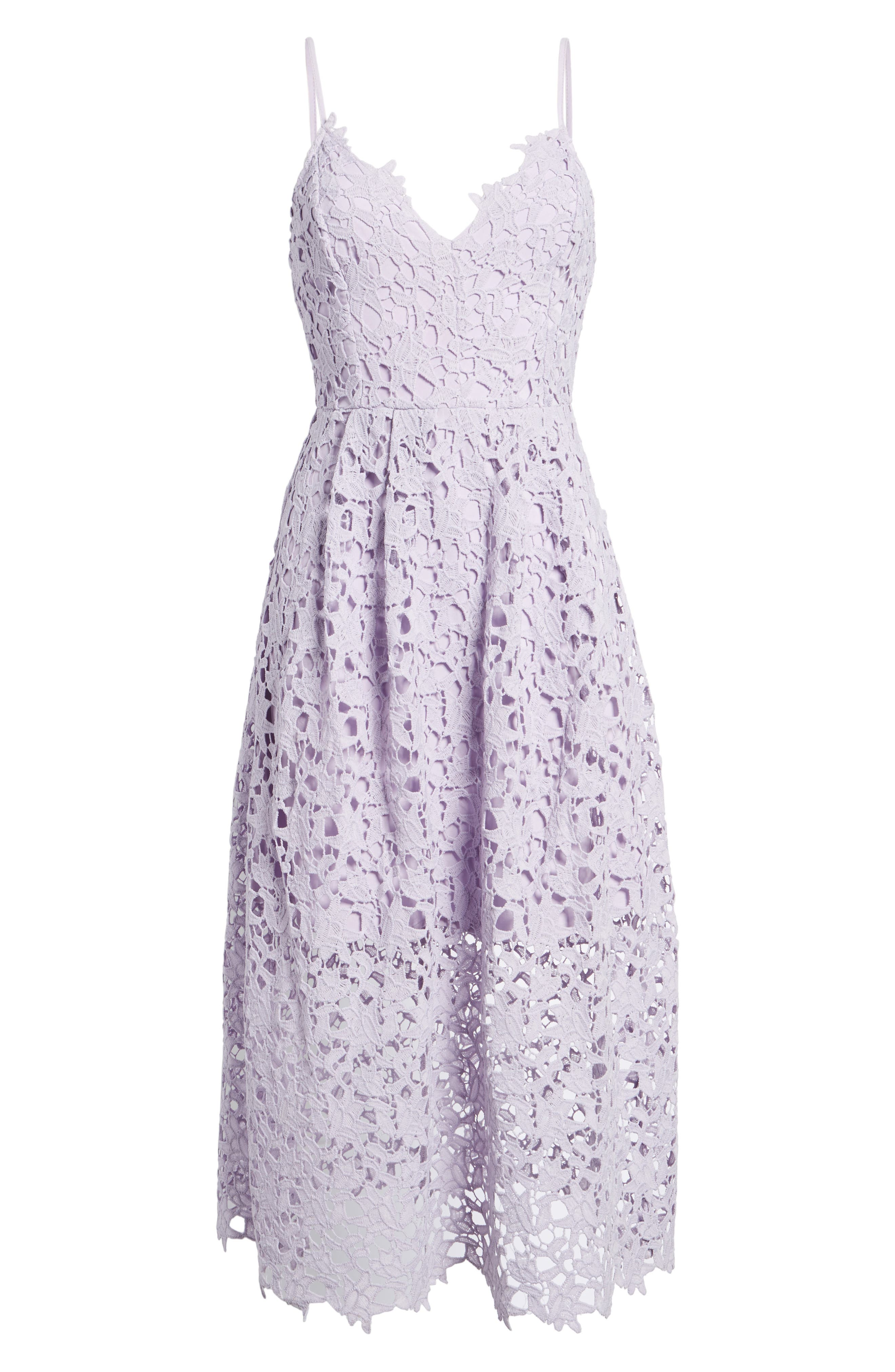ASTR THE LABEL,                             Lace Midi Dress,                             Alternate thumbnail 7, color,                             LILAC