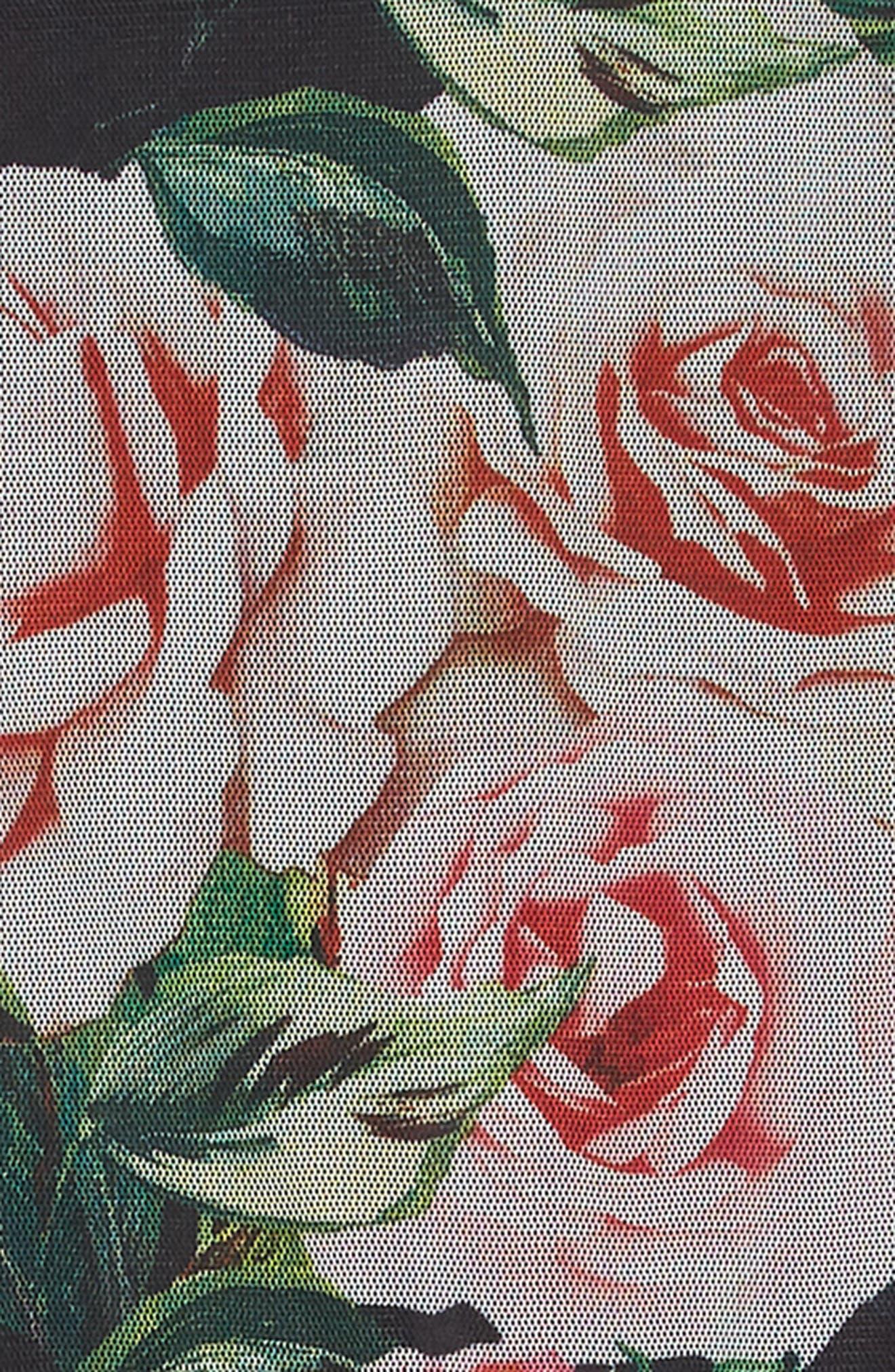 Bird & Flower Mesh Dress,                             Alternate thumbnail 3, color,                             MULTI
