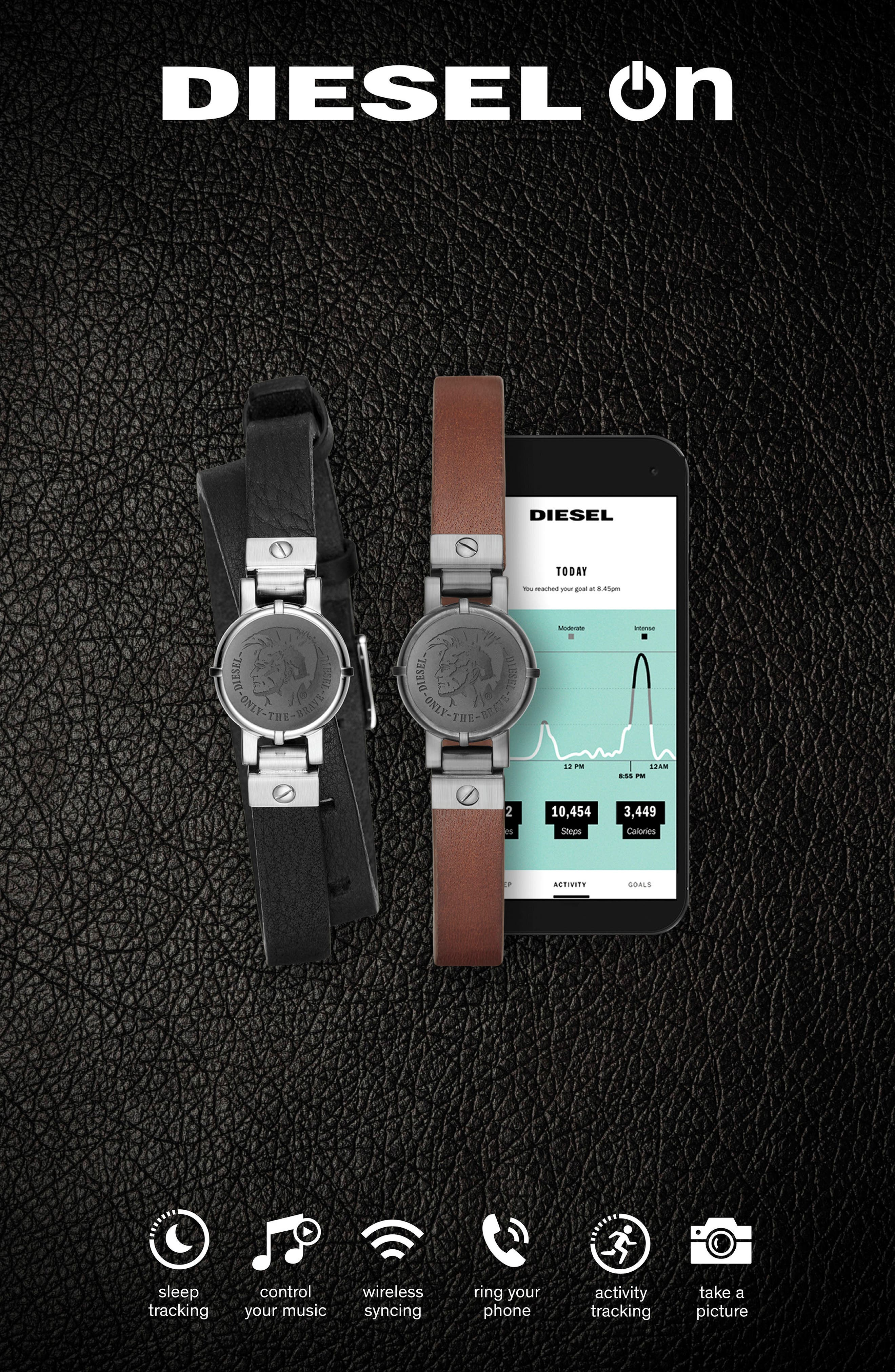 Leather Strap Activity Tracker,                             Alternate thumbnail 2, color,                             200