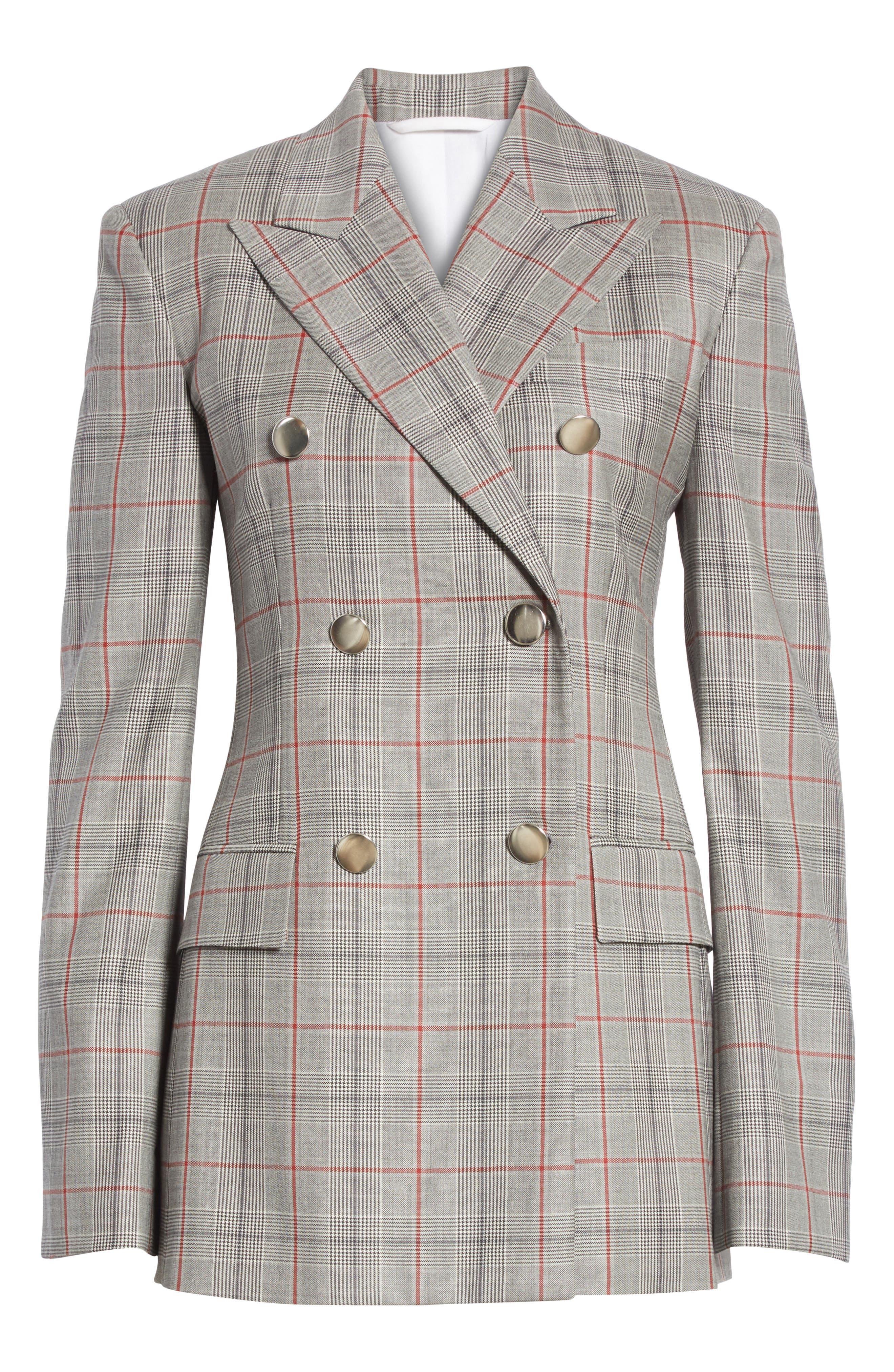 Plaid Wool Jacket,                             Alternate thumbnail 6, color,                             BLACK WHITE GRENADINE