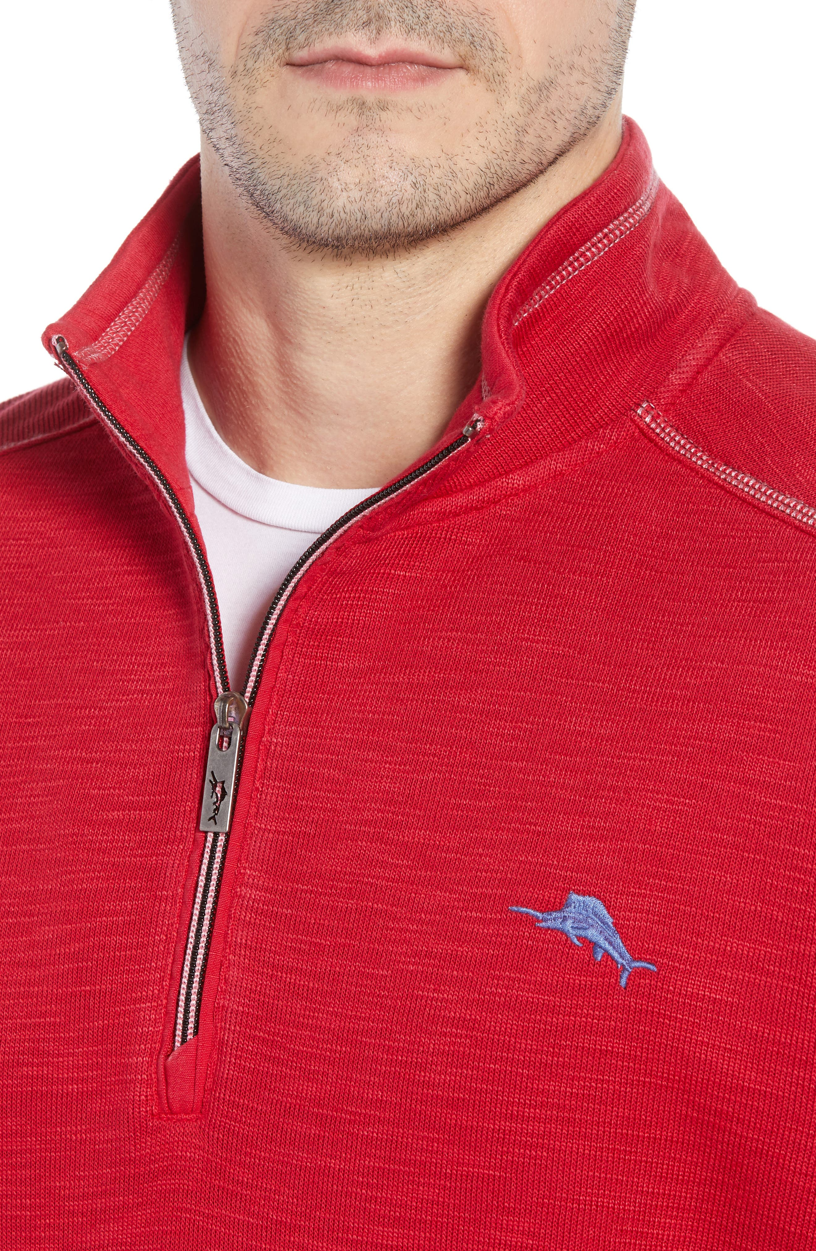Tobago Bay Half Zip Pullover,                             Alternate thumbnail 4, color,                             SCOOTER RED