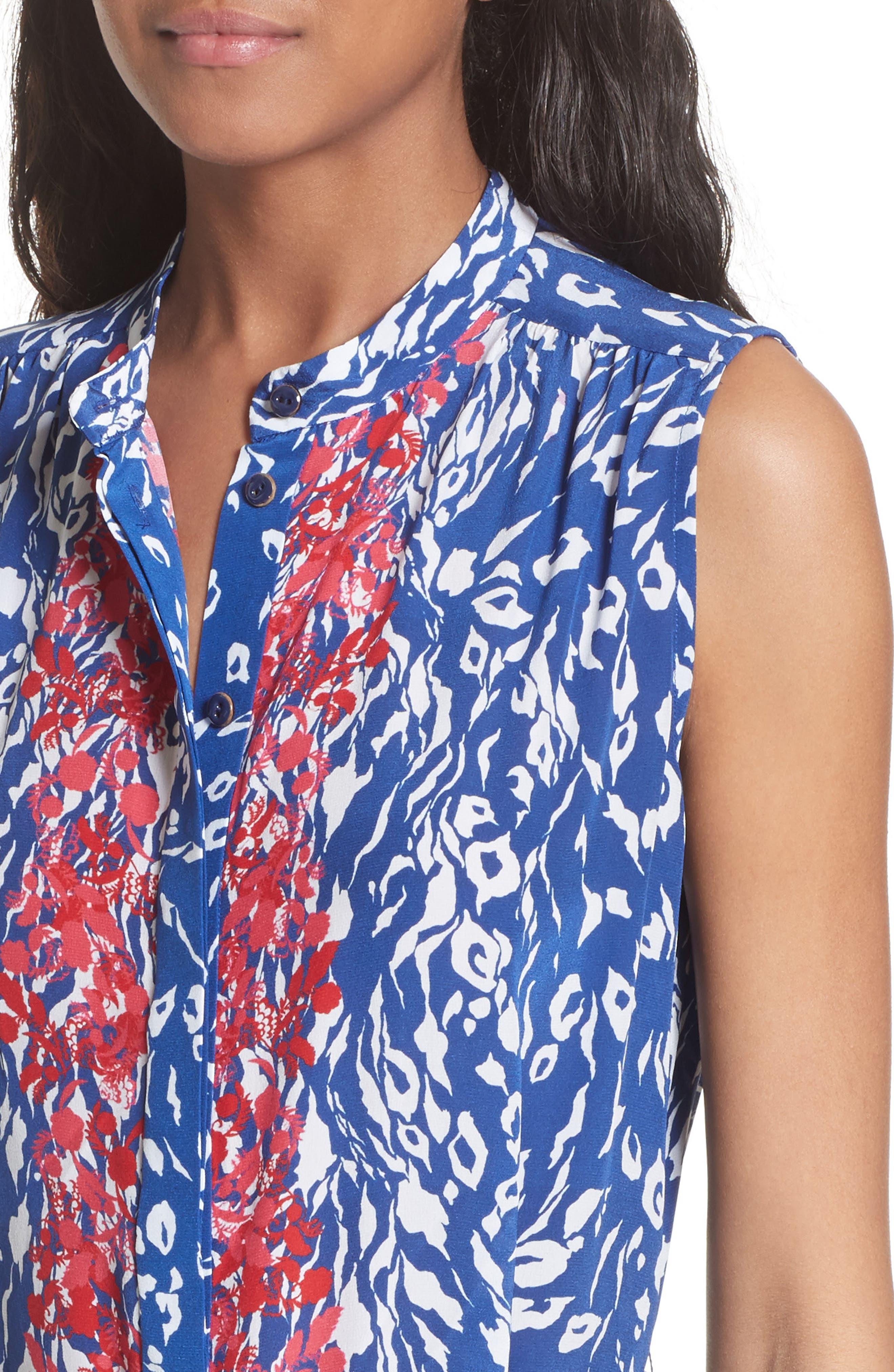 Tilly Print Silk Fit & Flare Dress,                             Alternate thumbnail 4, color,                             416
