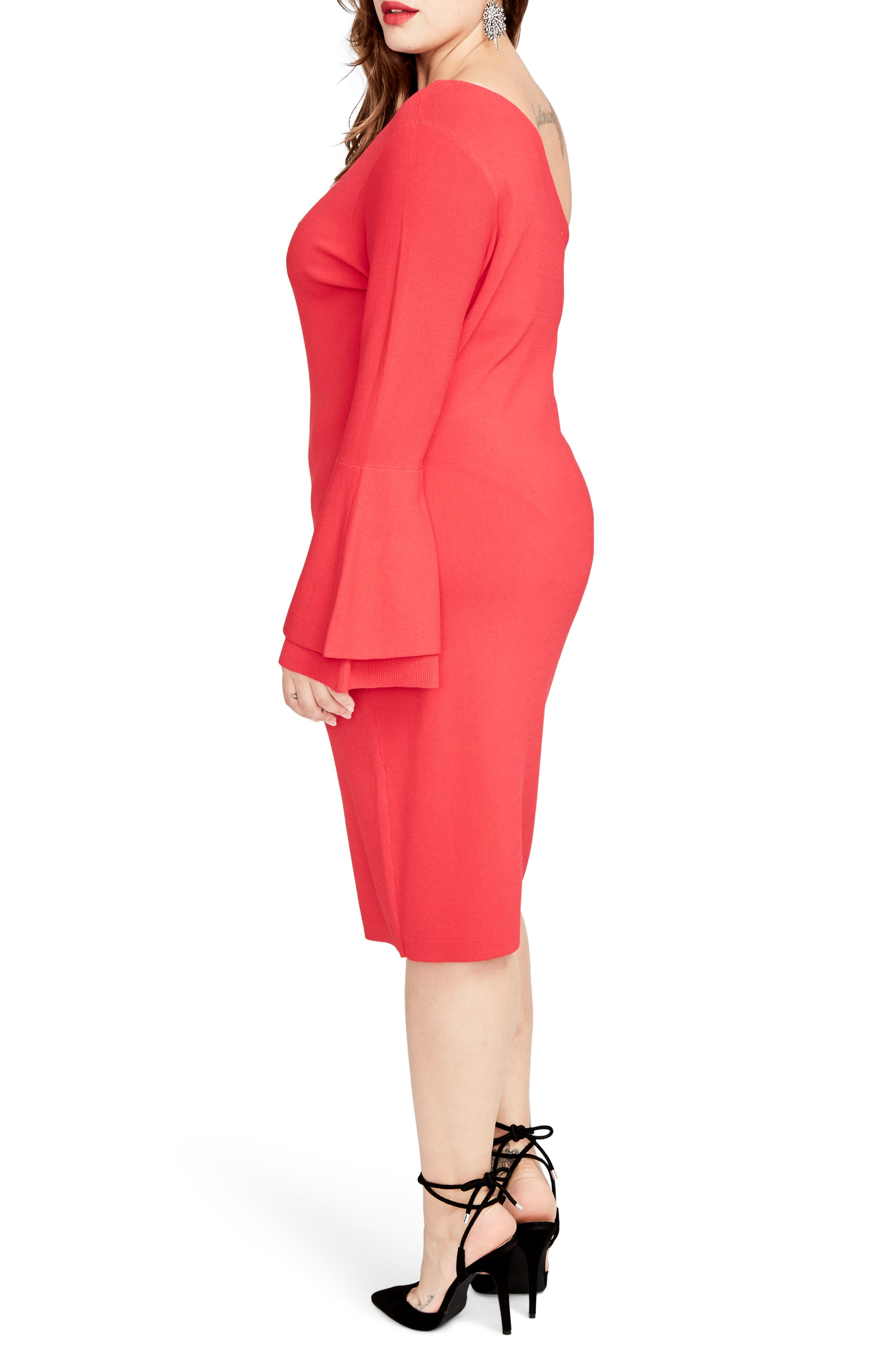 One-Shoulder Knit Sheath Dress,                             Alternate thumbnail 4, color,