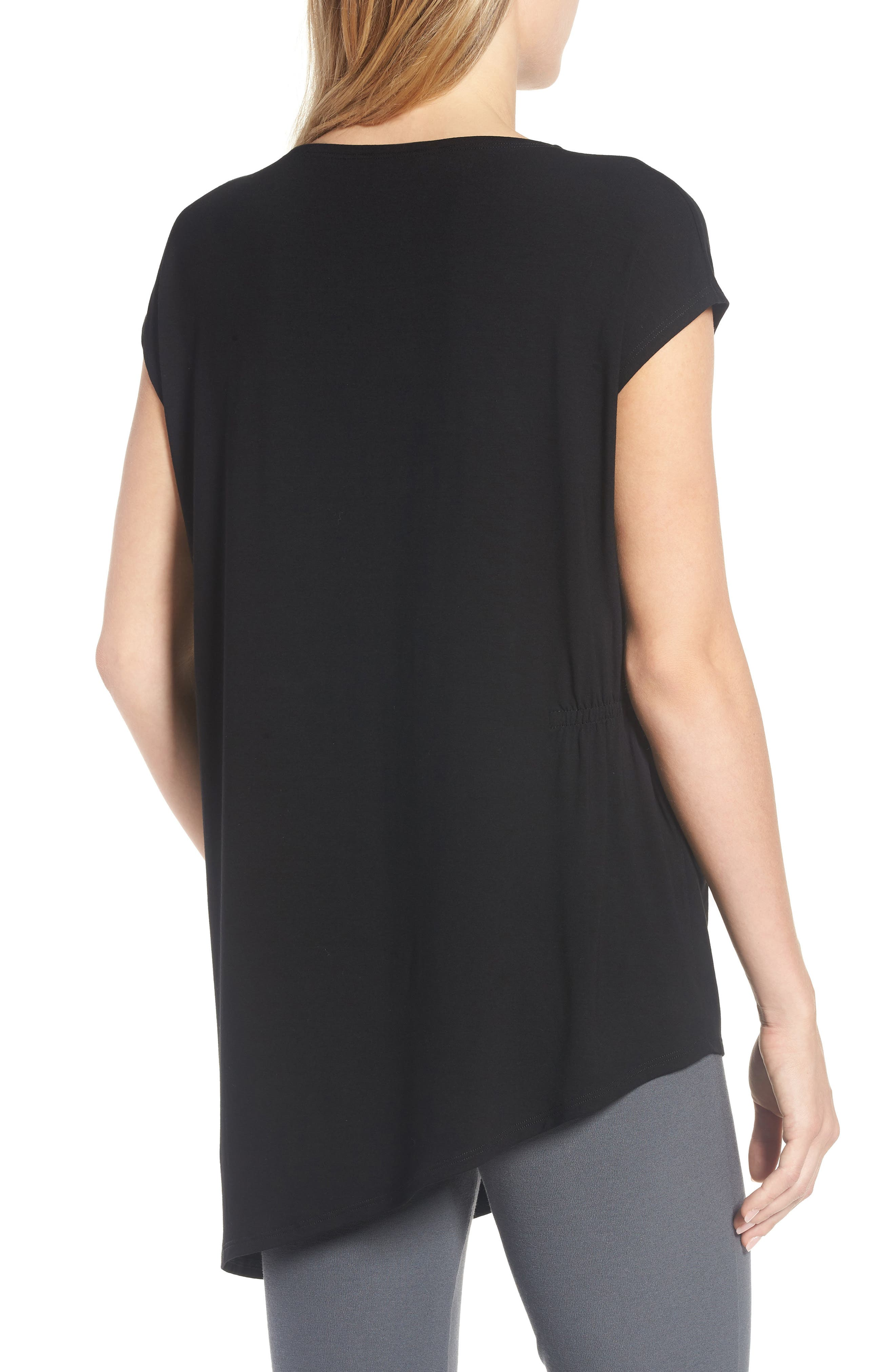 Asymmetrical Stretch Jersey Top,                             Alternate thumbnail 2, color,                             001