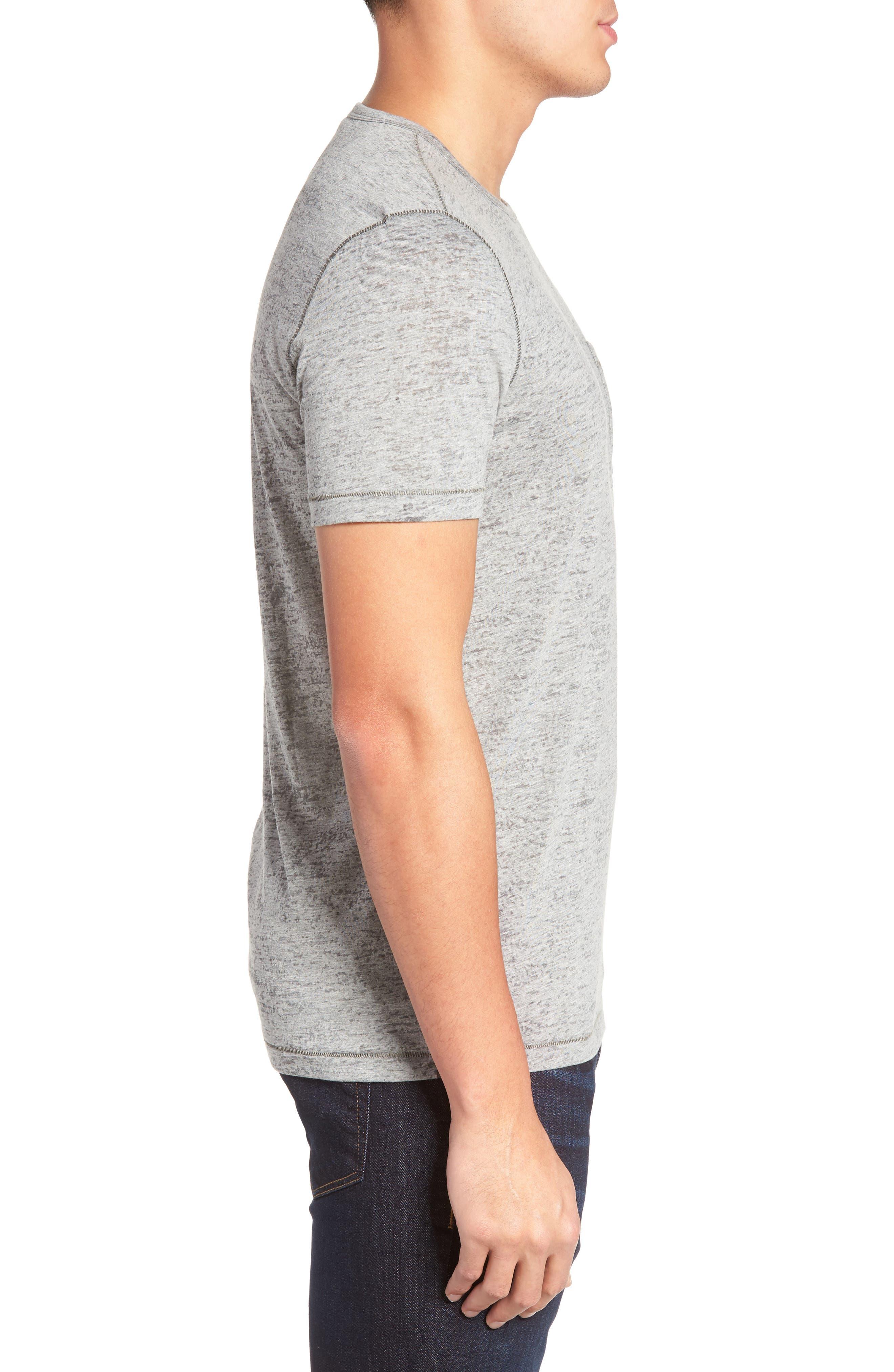 Burnout Trim Fit T-Shirt,                             Alternate thumbnail 3, color,                             LT. GREY HEATHER