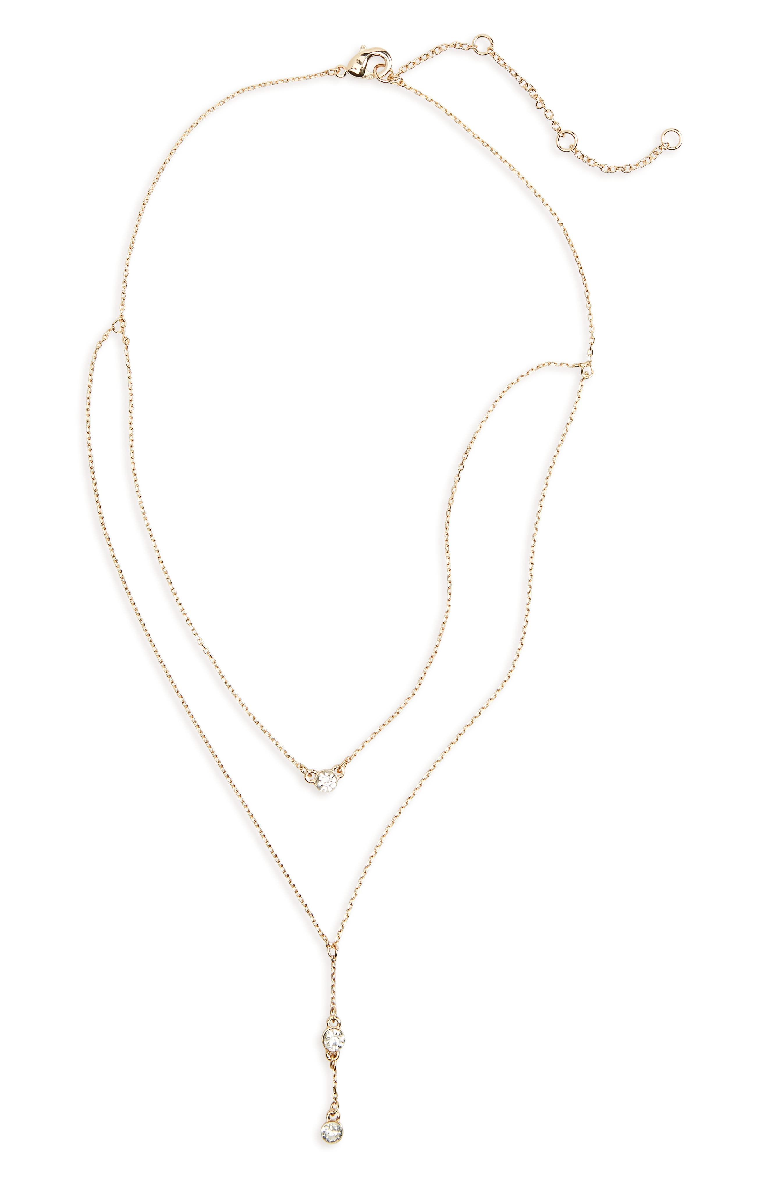 Layered Crystal Drop Necklace,                         Main,                         color,