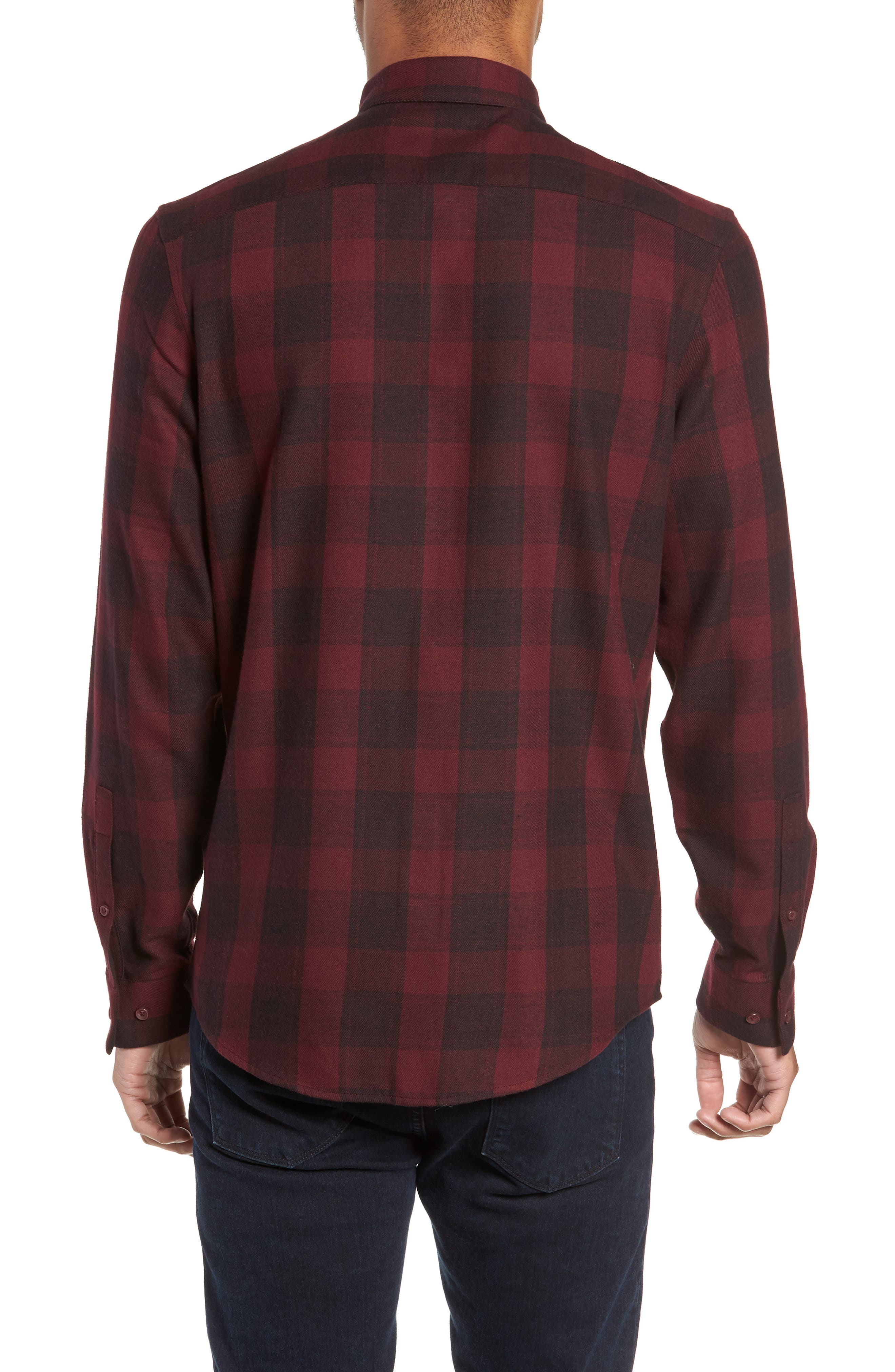 Slim Fit Mini Collar Check Flannel Sport Shirt,                             Alternate thumbnail 3, color,                             930