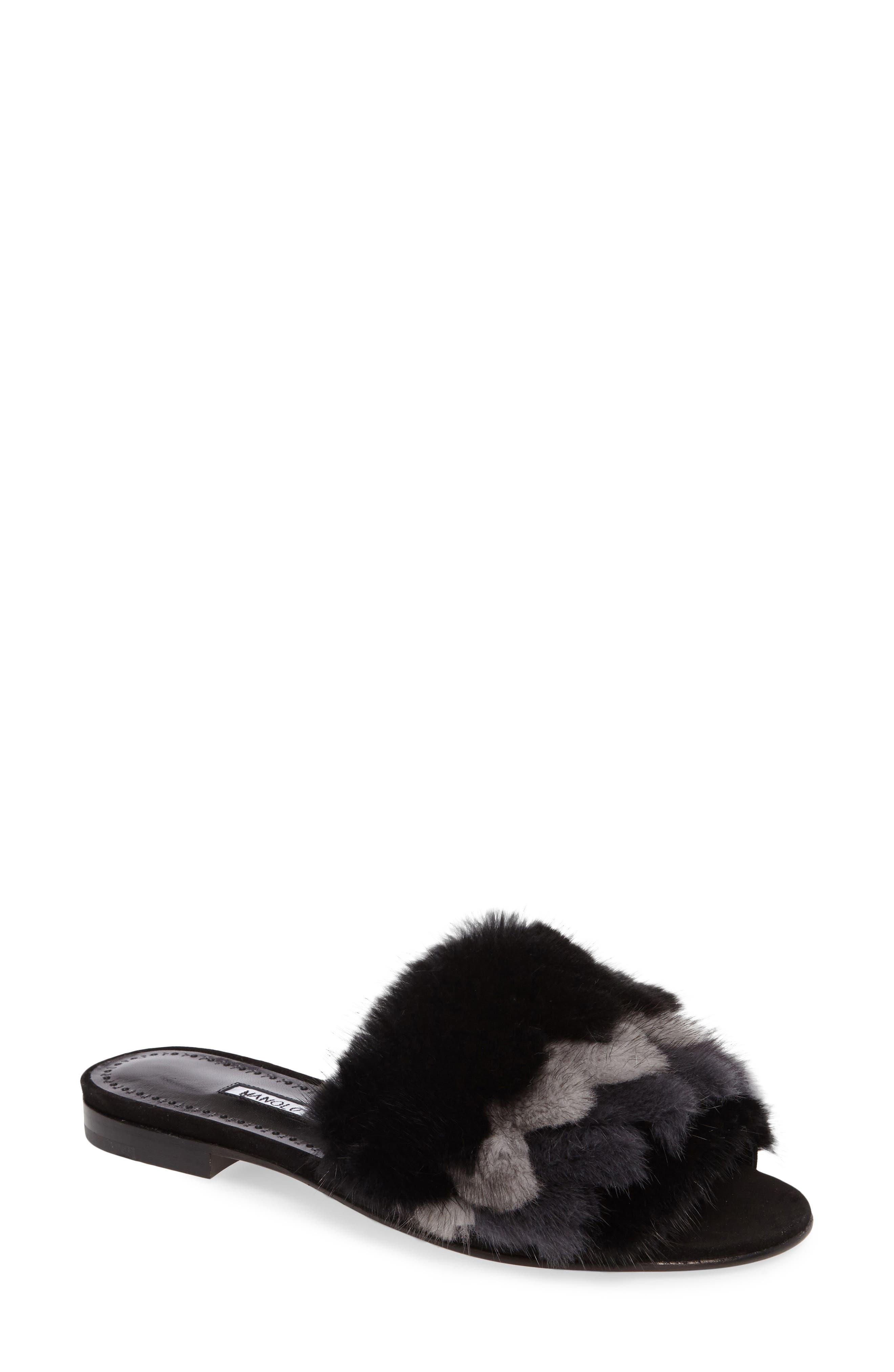 Pelosusmin Genuine Mink Fur Slide Sandal,                             Main thumbnail 1, color,                             001