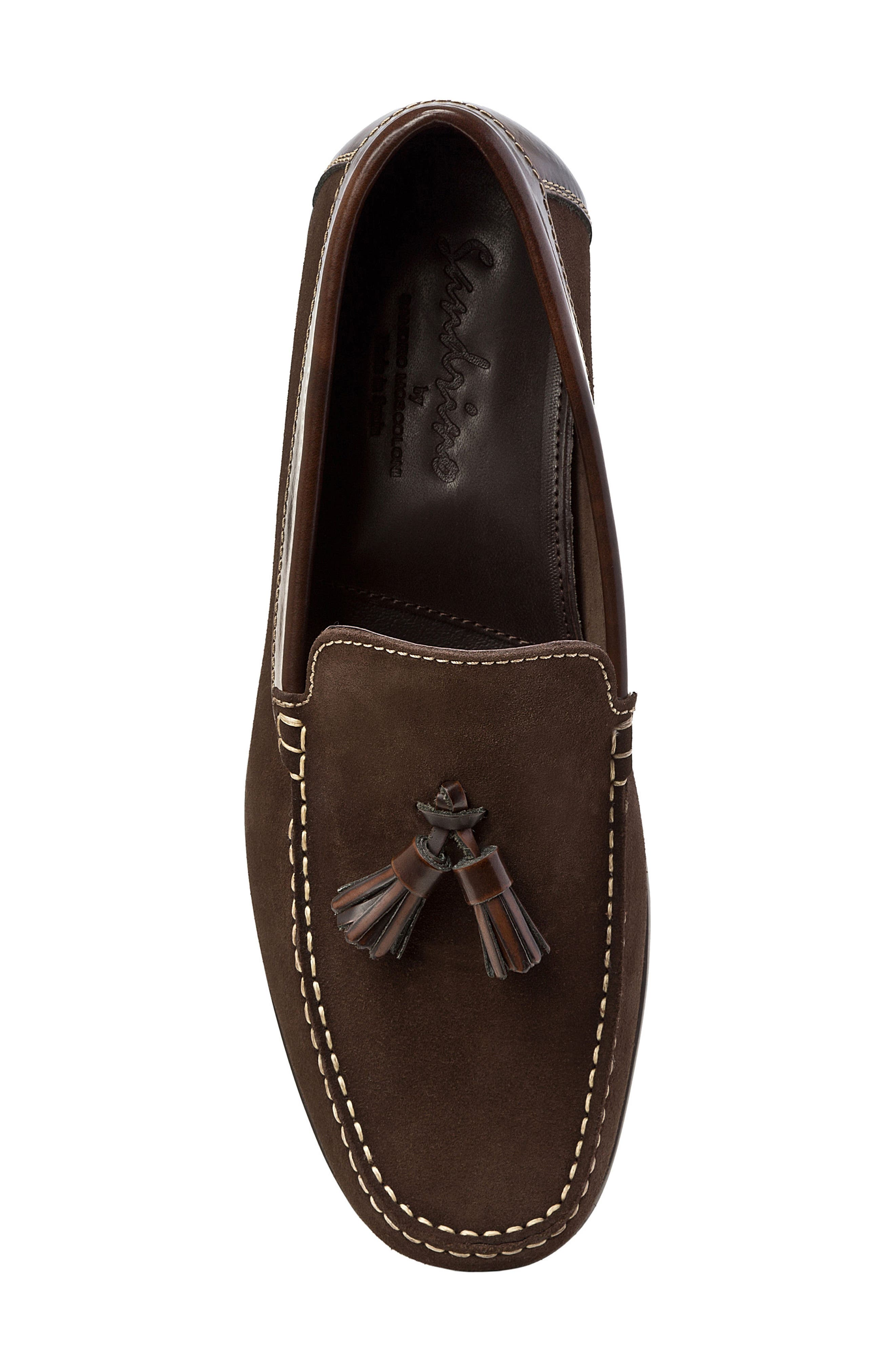 SANDRO MOSCOLONI,                             Hojas Tassel Loafer,                             Alternate thumbnail 5, color,                             BROWN LEATHER