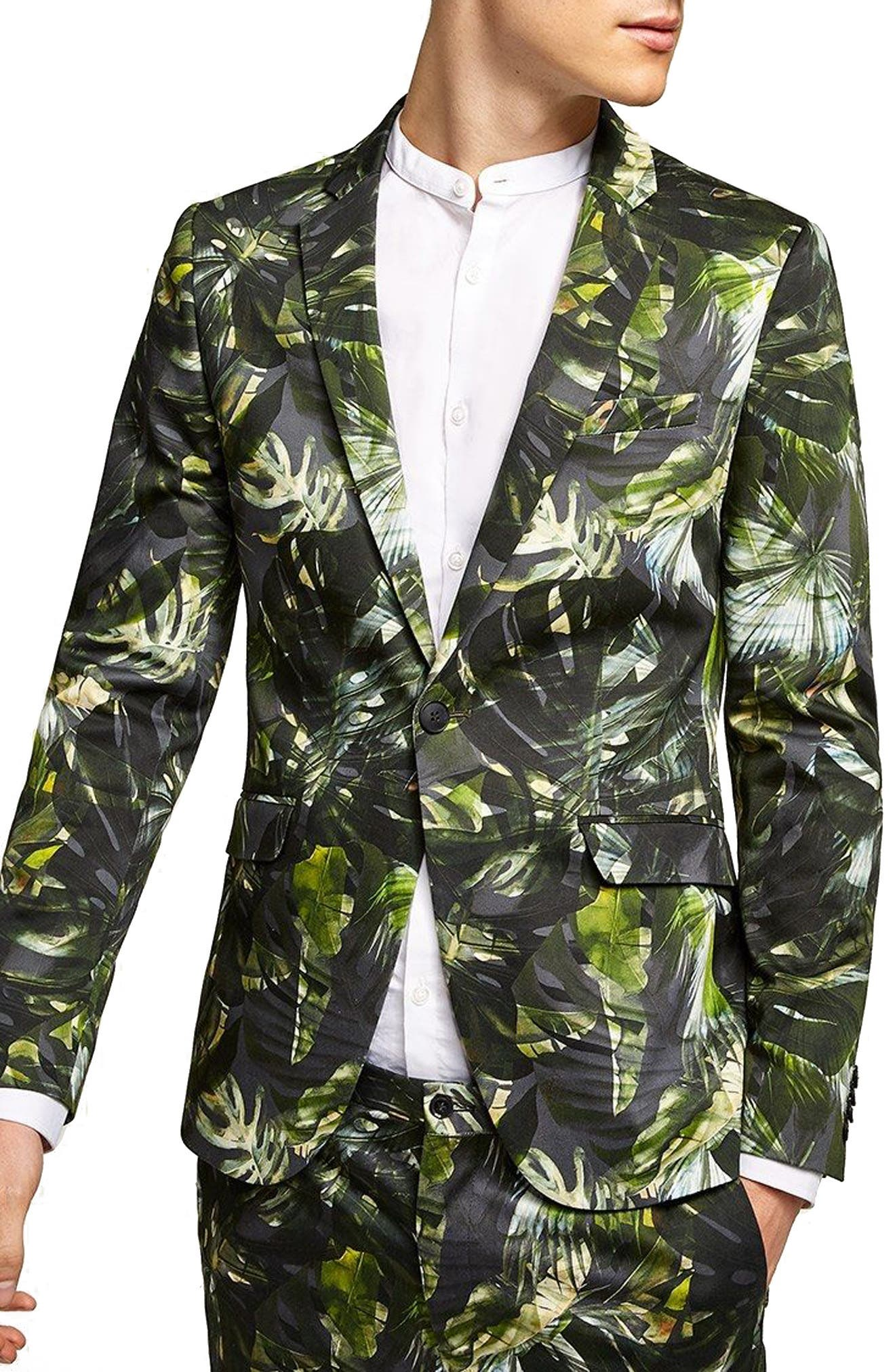 Ultra Skinny Fit Palm Print Suit Jacket,                             Main thumbnail 1, color,                             GREEN