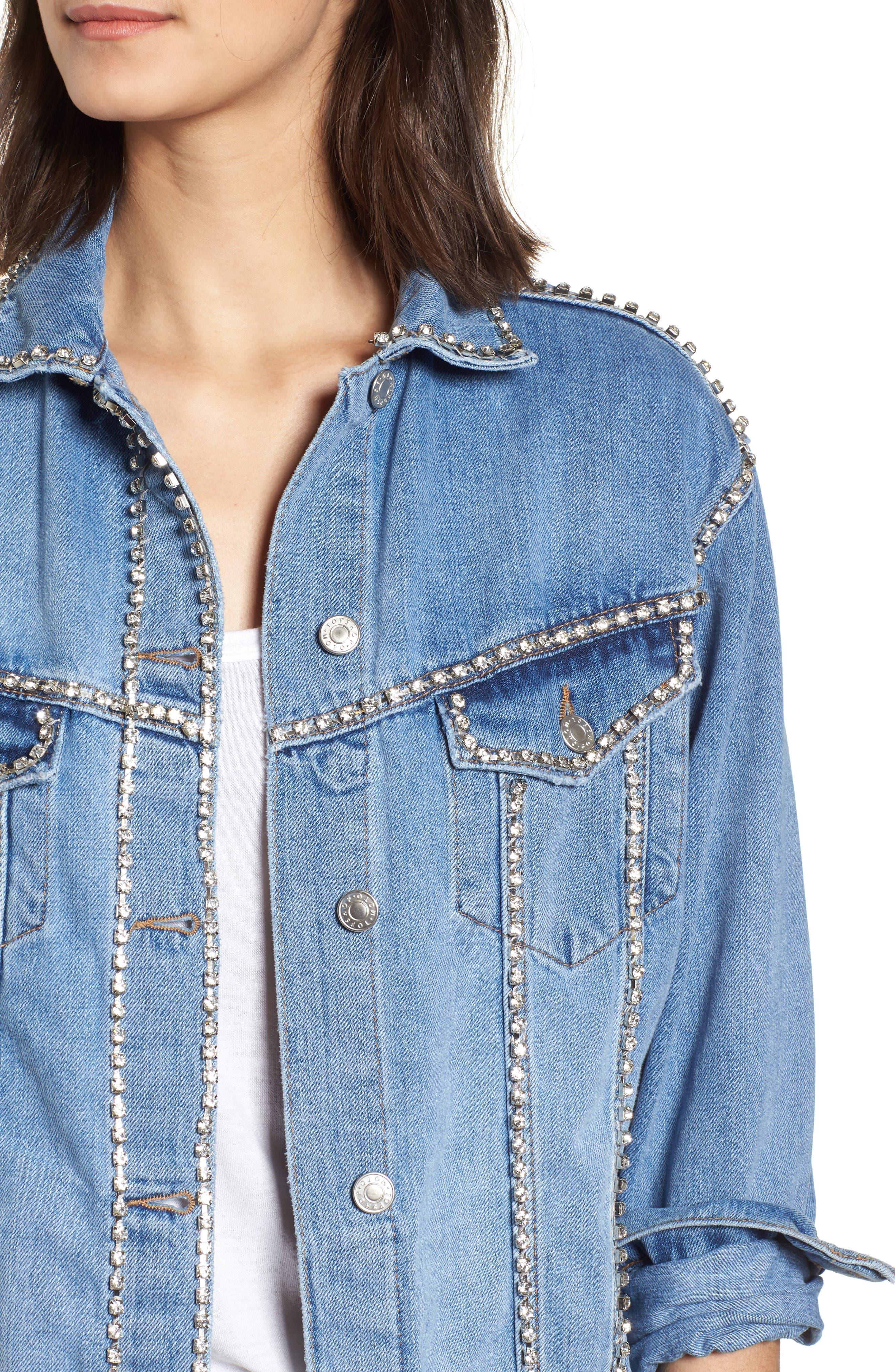 Oversize Crystal Seam Denim Jacket,                             Alternate thumbnail 4, color,                             400