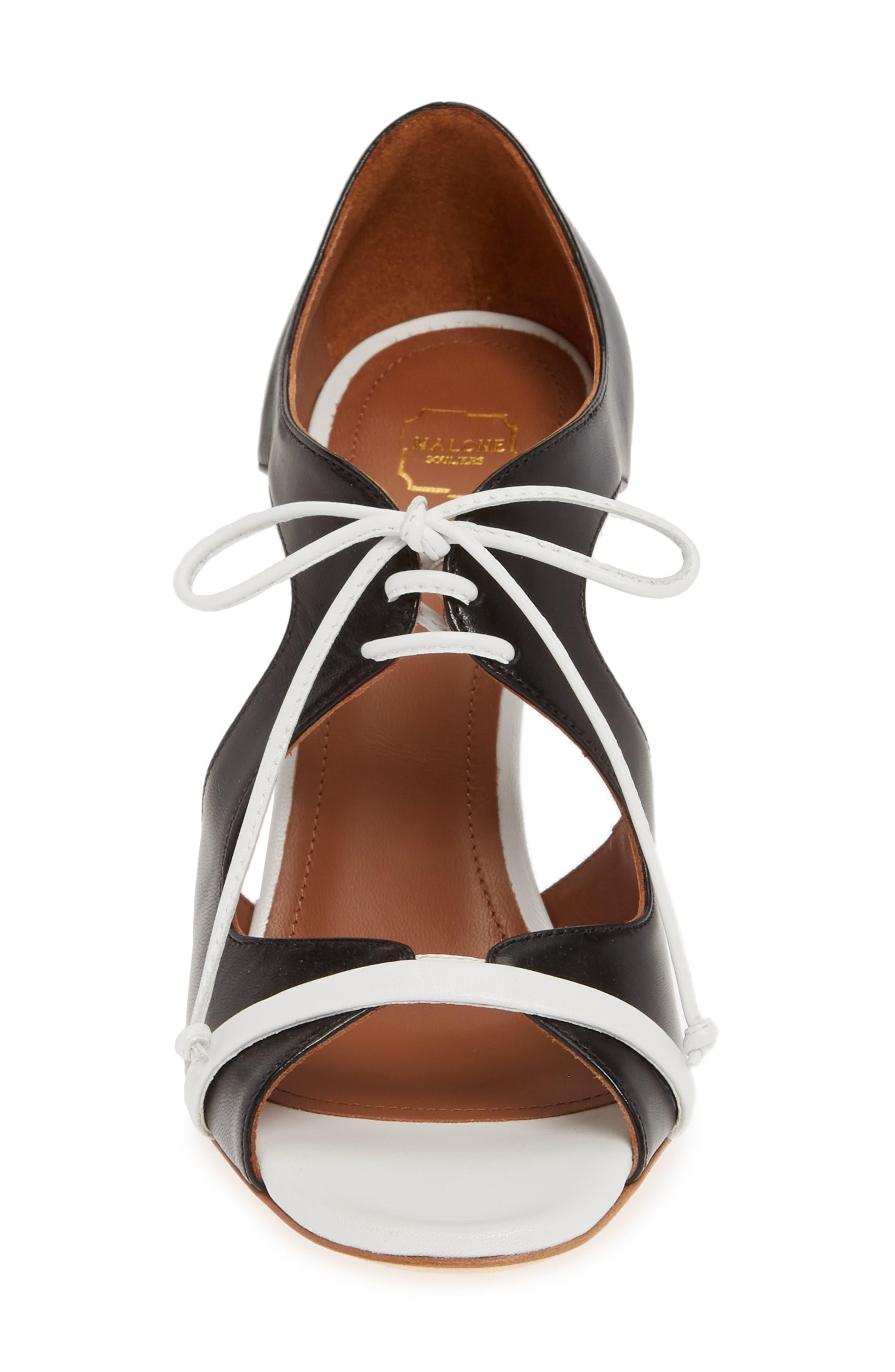 MALONE SOULIERS,                             Potomac Lace-Up Sandal,                             Alternate thumbnail 4, color,                             BLACK/ WHITE