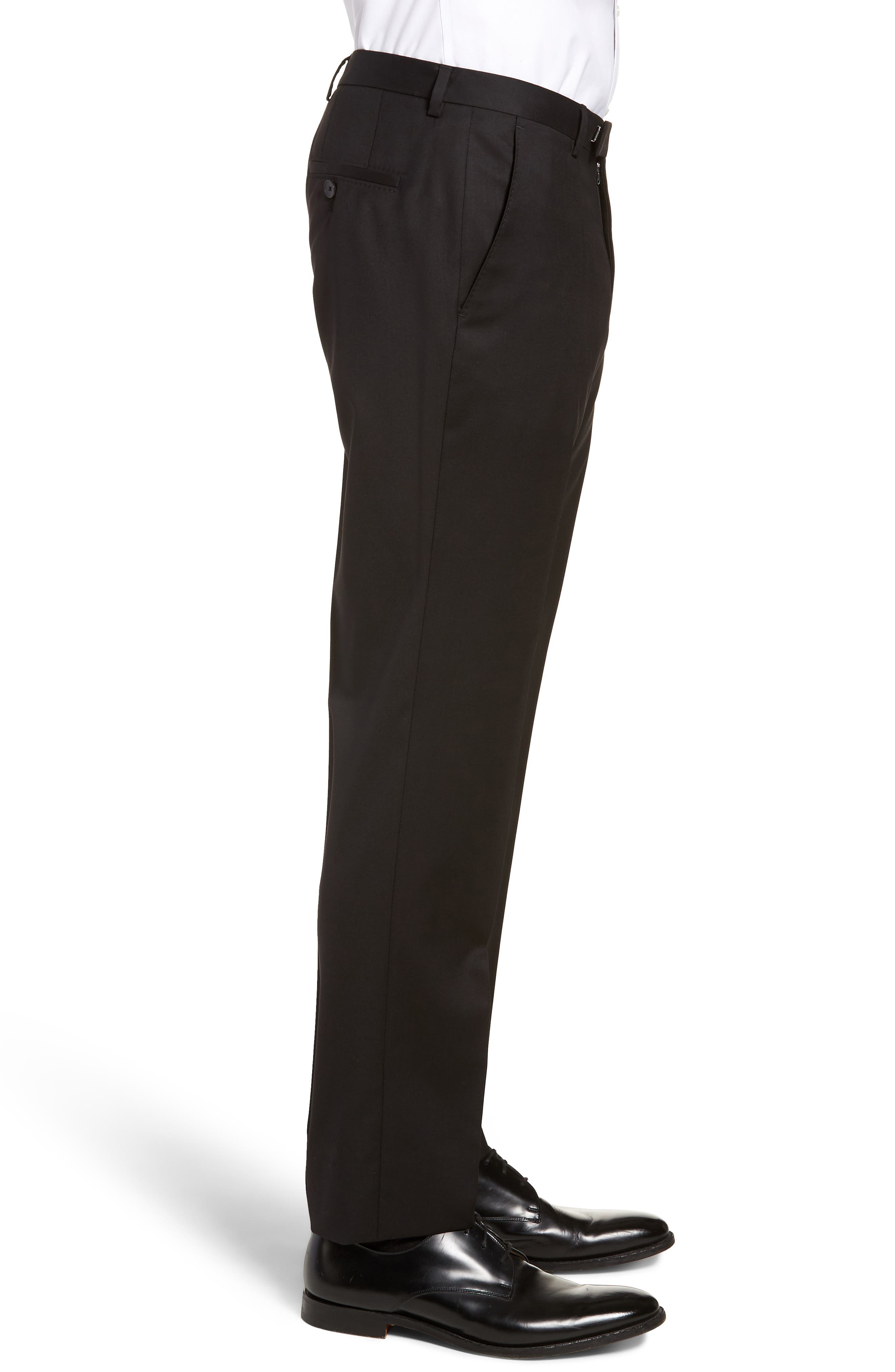 Lenon CYL Flat Front Solid Wool Trousers,                             Alternate thumbnail 3, color,                             BLACK